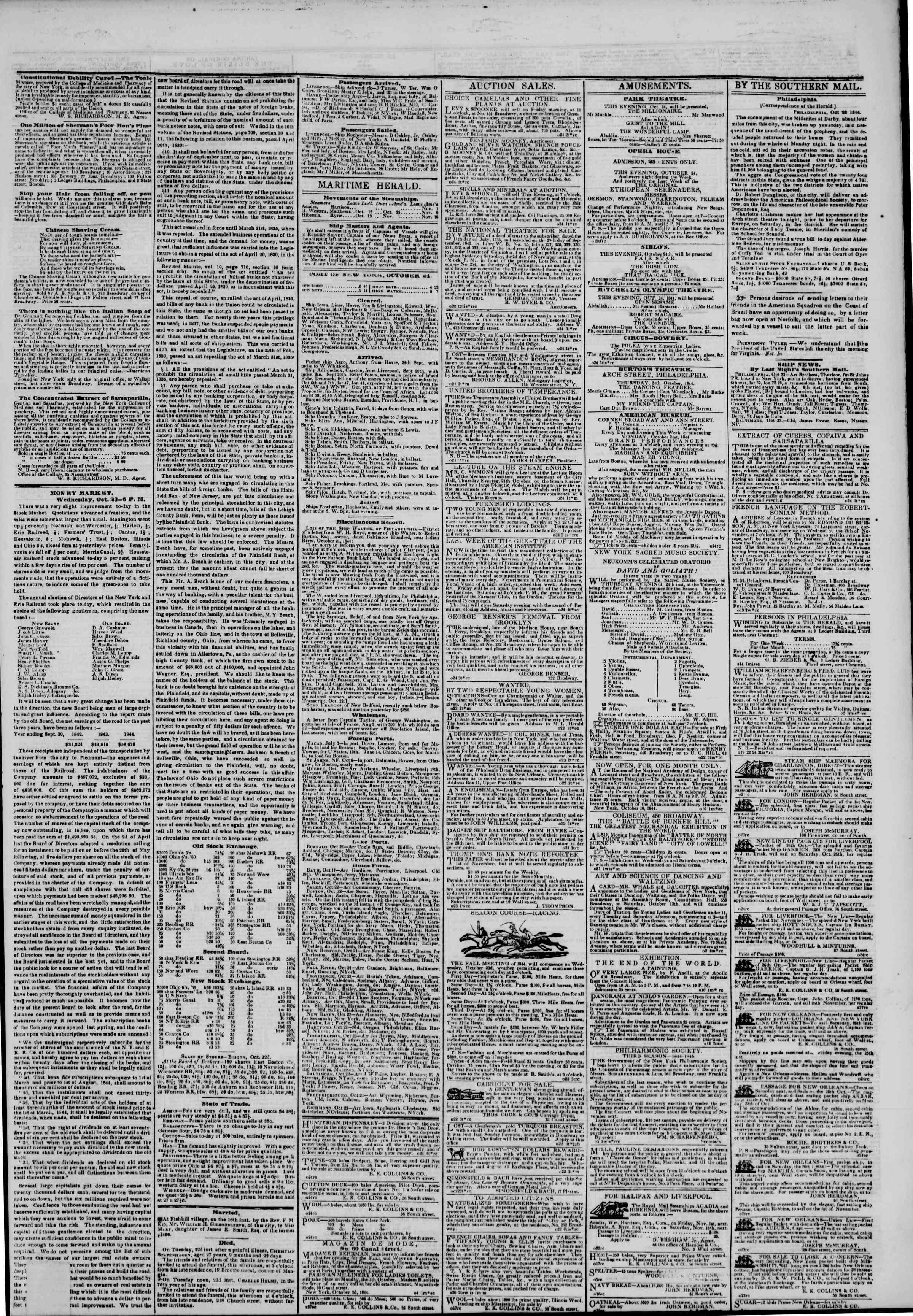 October 24, 1844 Tarihli The New York Herald Gazetesi Sayfa 3