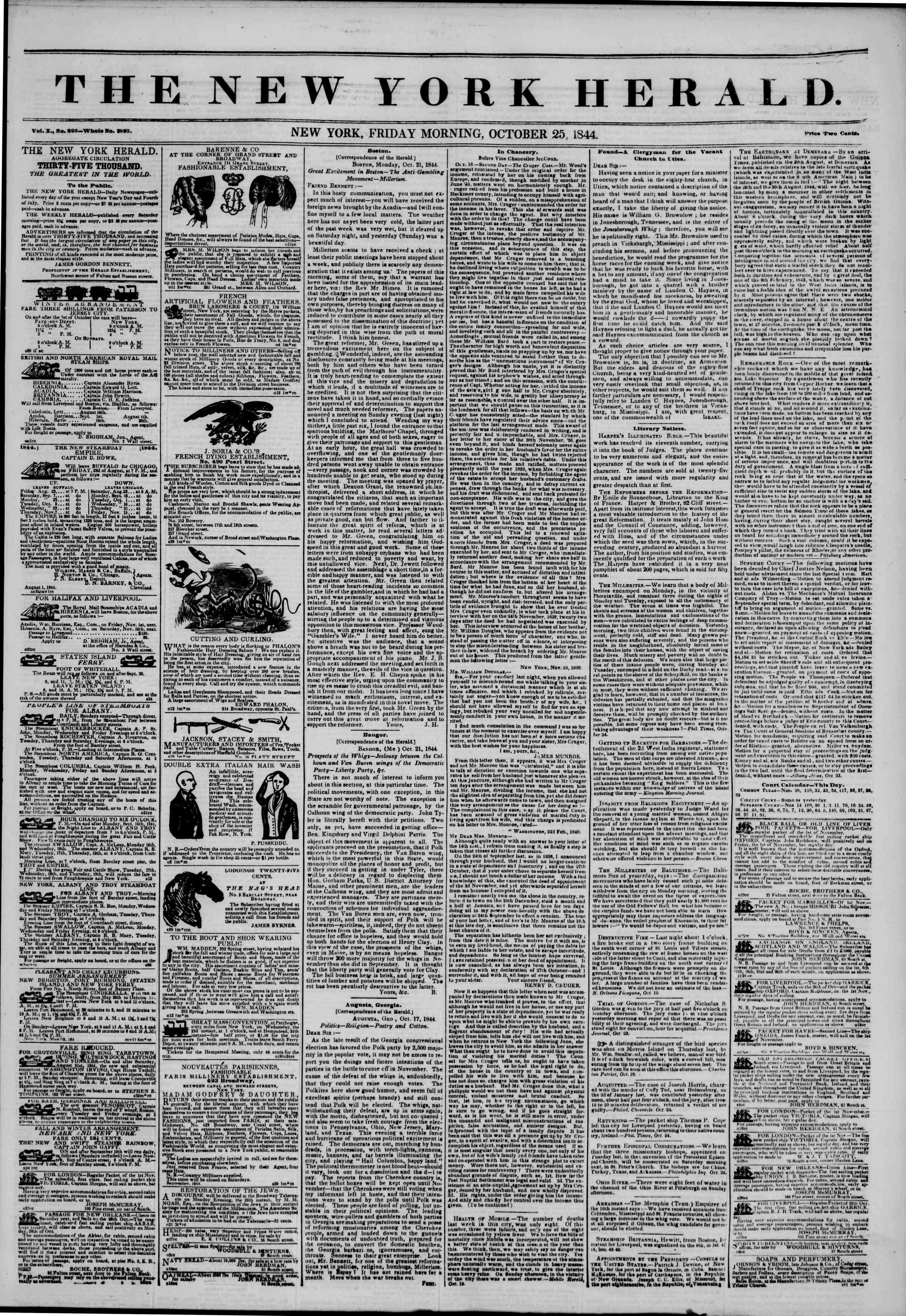 October 25, 1844 Tarihli The New York Herald Gazetesi Sayfa 1
