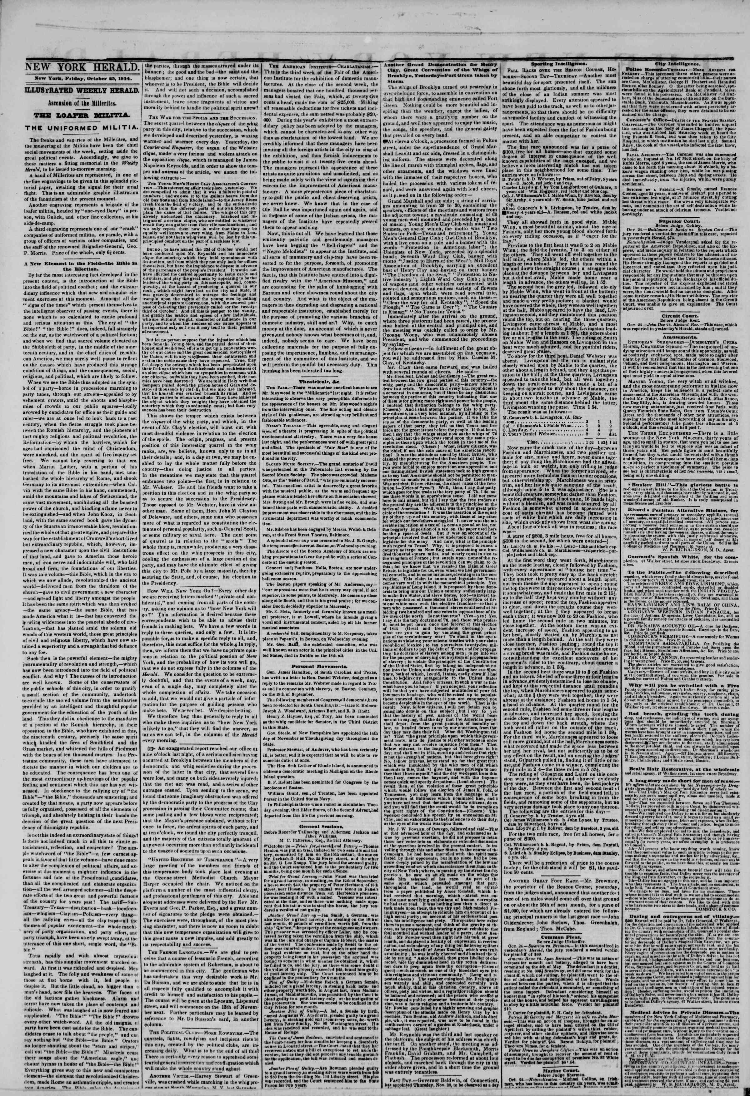 Newspaper of The New York Herald dated October 25, 1844 Page 2