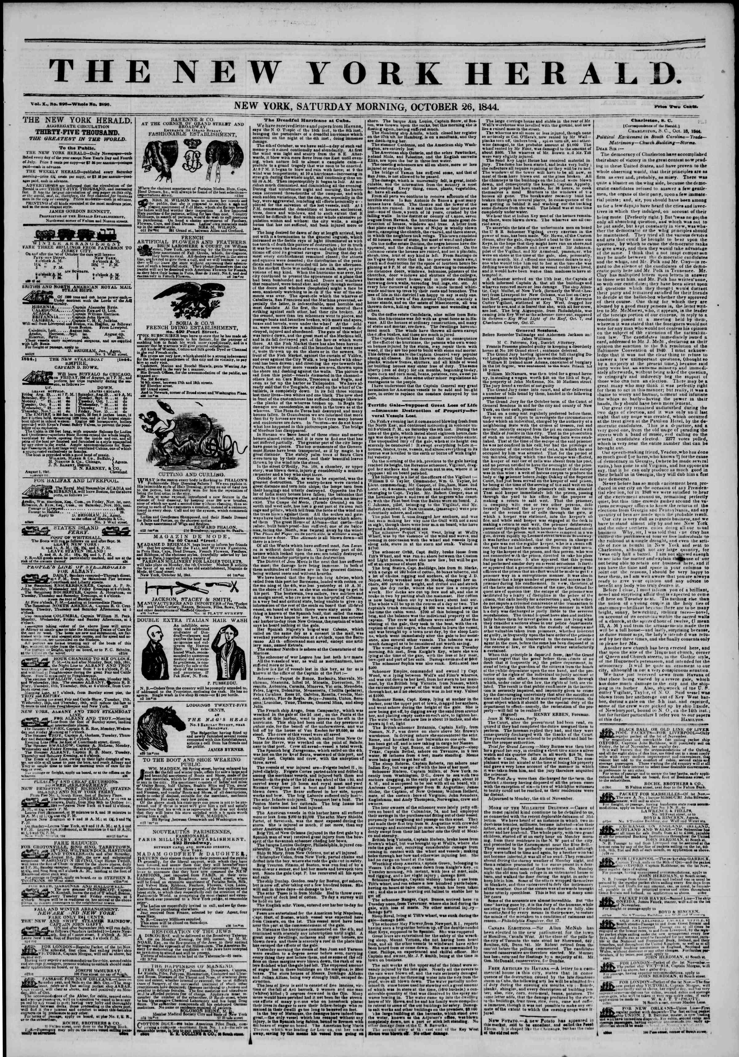 October 26, 1844 Tarihli The New York Herald Gazetesi Sayfa 1