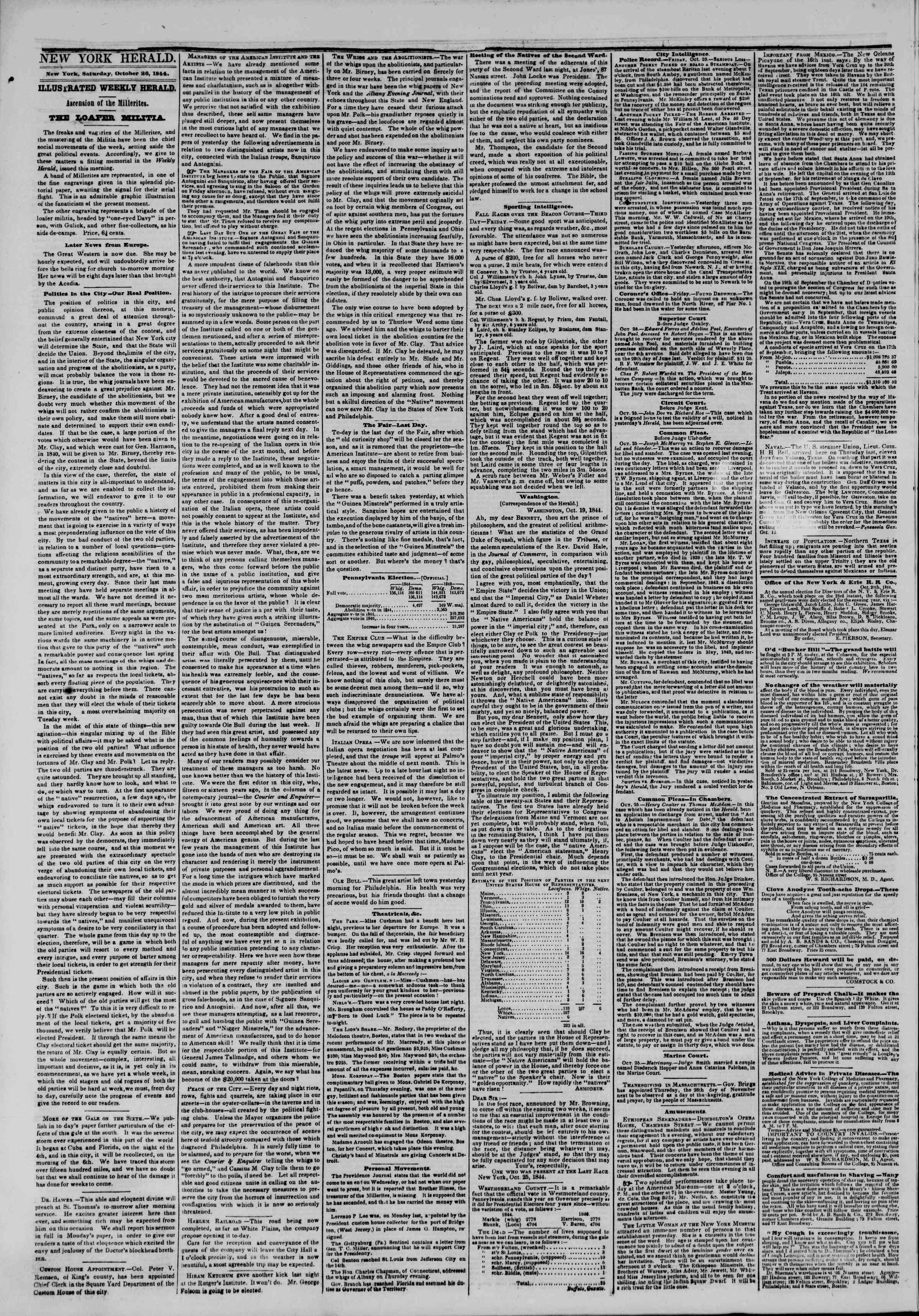 Newspaper of The New York Herald dated October 26, 1844 Page 2