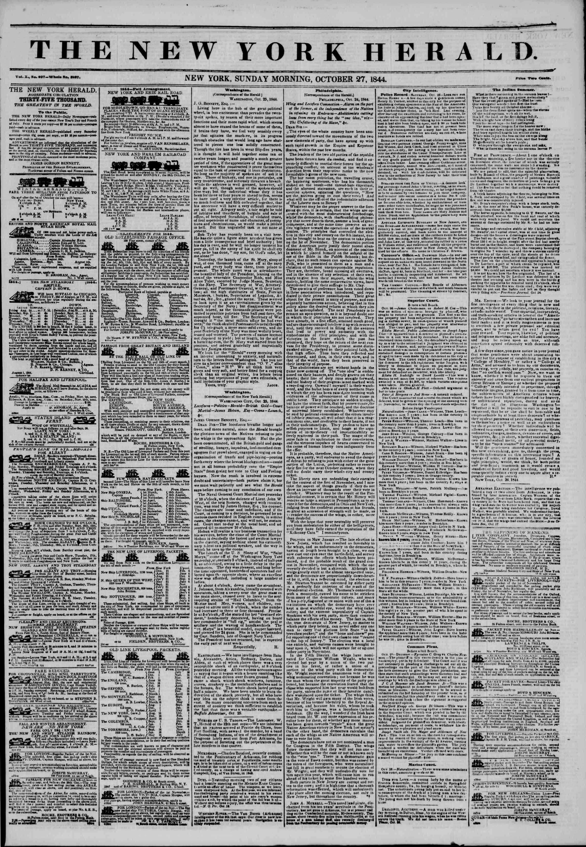October 27, 1844 Tarihli The New York Herald Gazetesi Sayfa 1