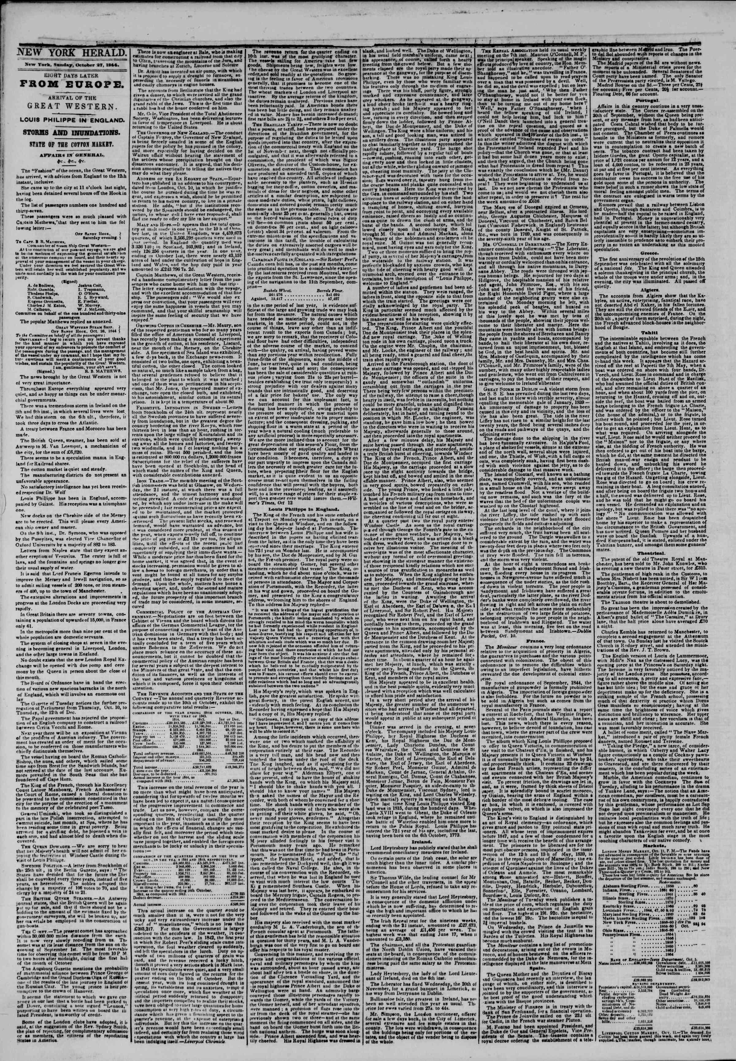October 27, 1844 Tarihli The New York Herald Gazetesi Sayfa 2