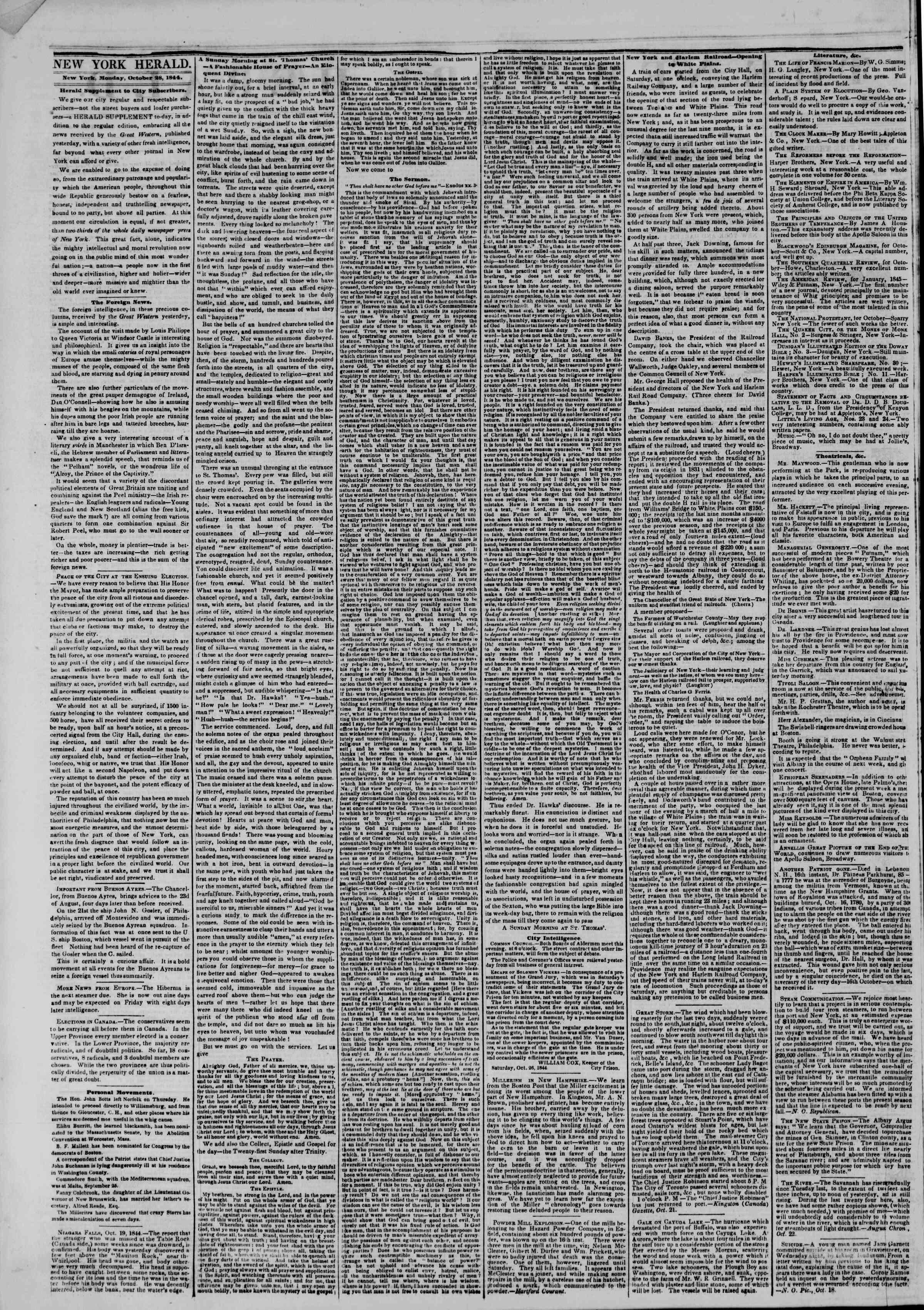 Newspaper of The New York Herald dated October 28, 1844 Page 2
