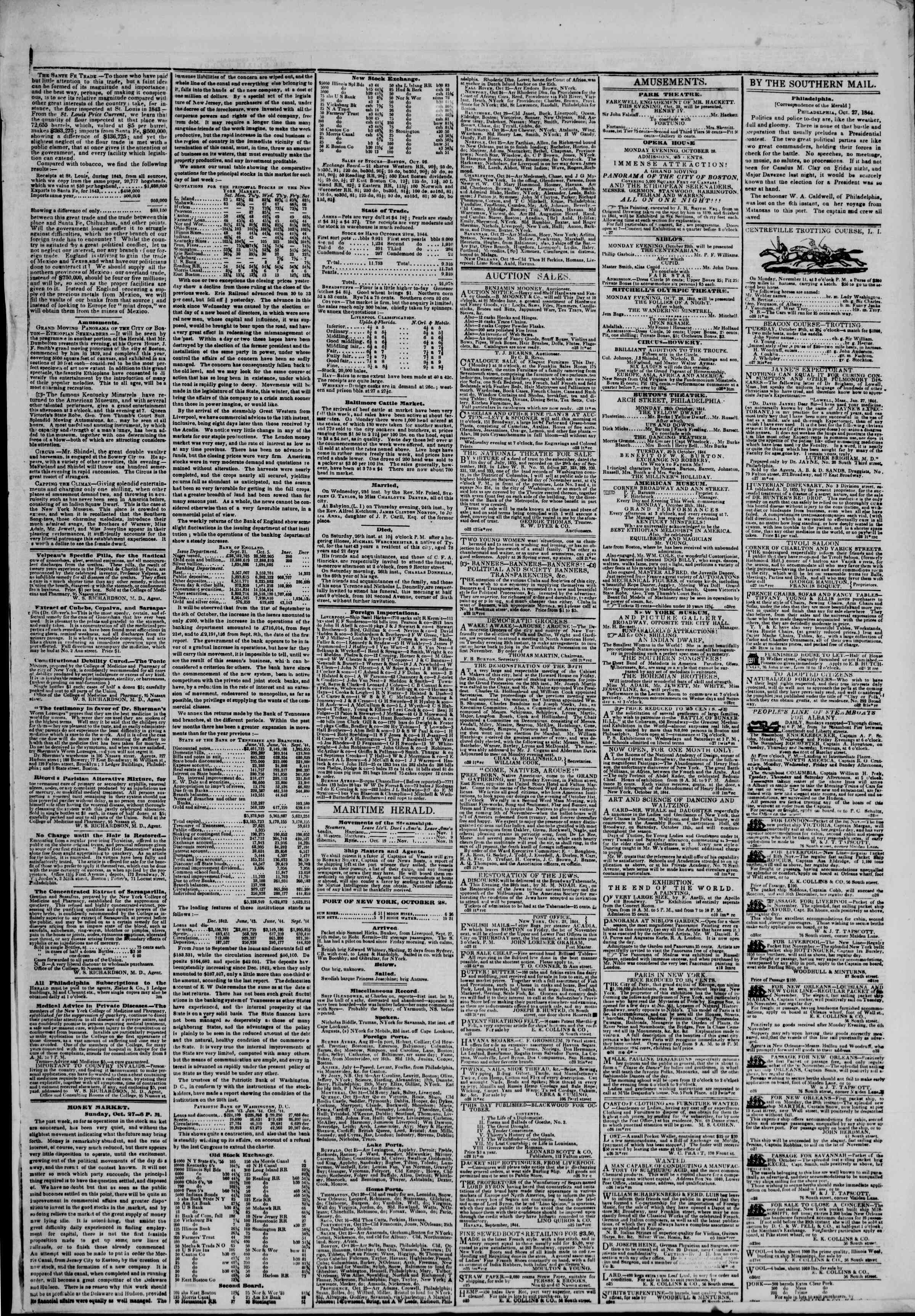 Newspaper of The New York Herald dated October 28, 1844 Page 3
