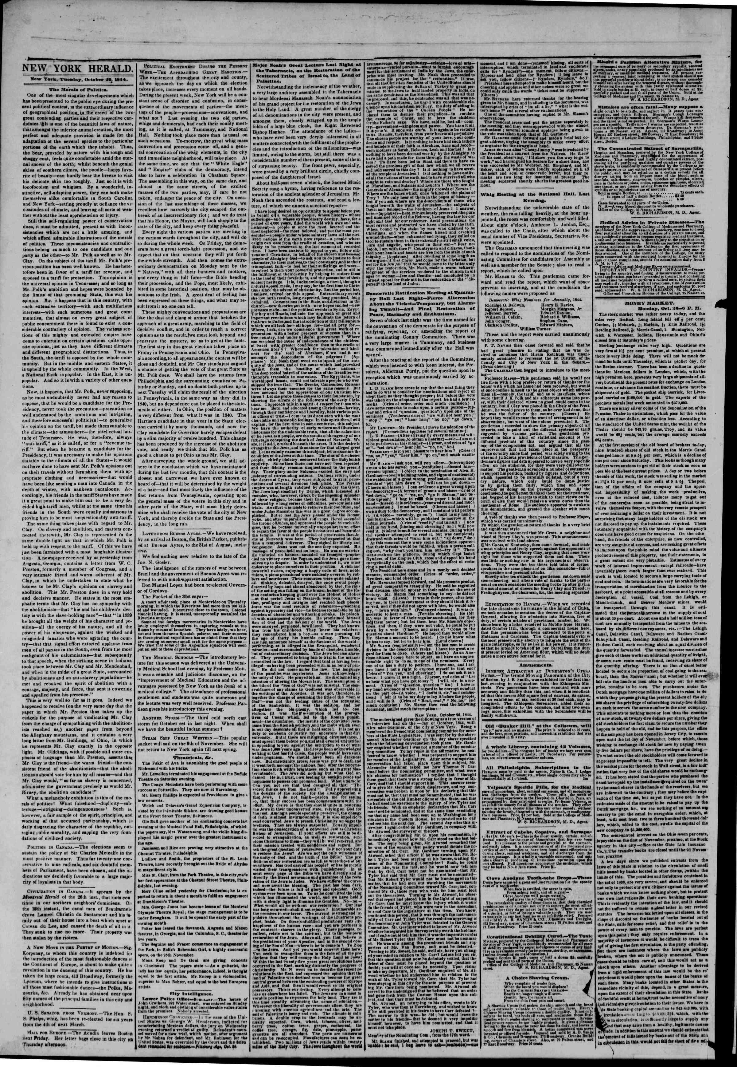 October 29, 1844 Tarihli The New York Herald Gazetesi Sayfa 2