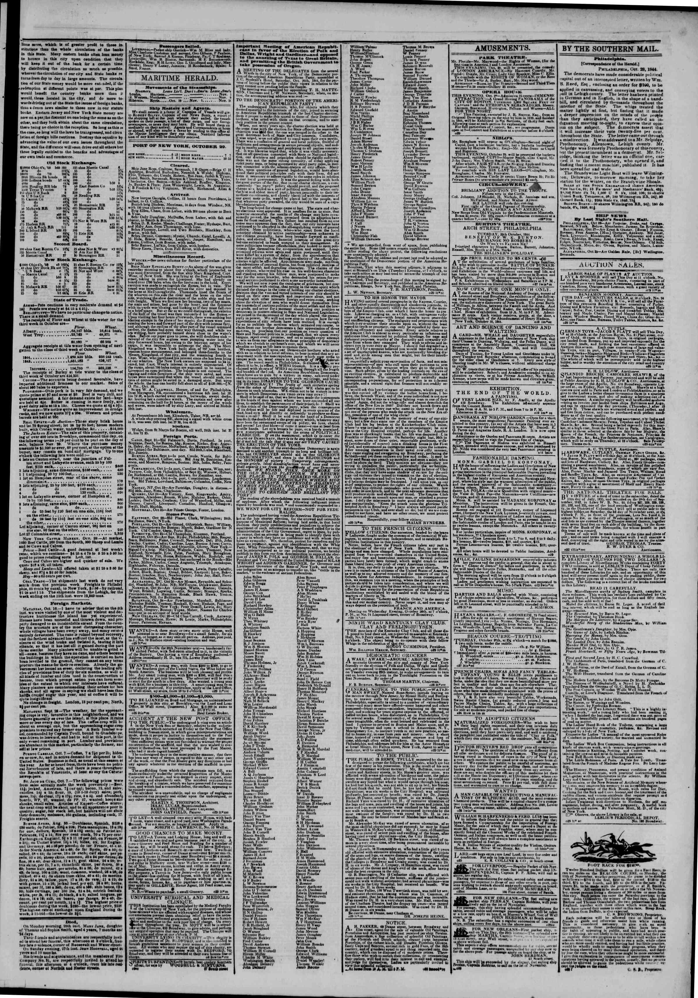 October 29, 1844 Tarihli The New York Herald Gazetesi Sayfa 3