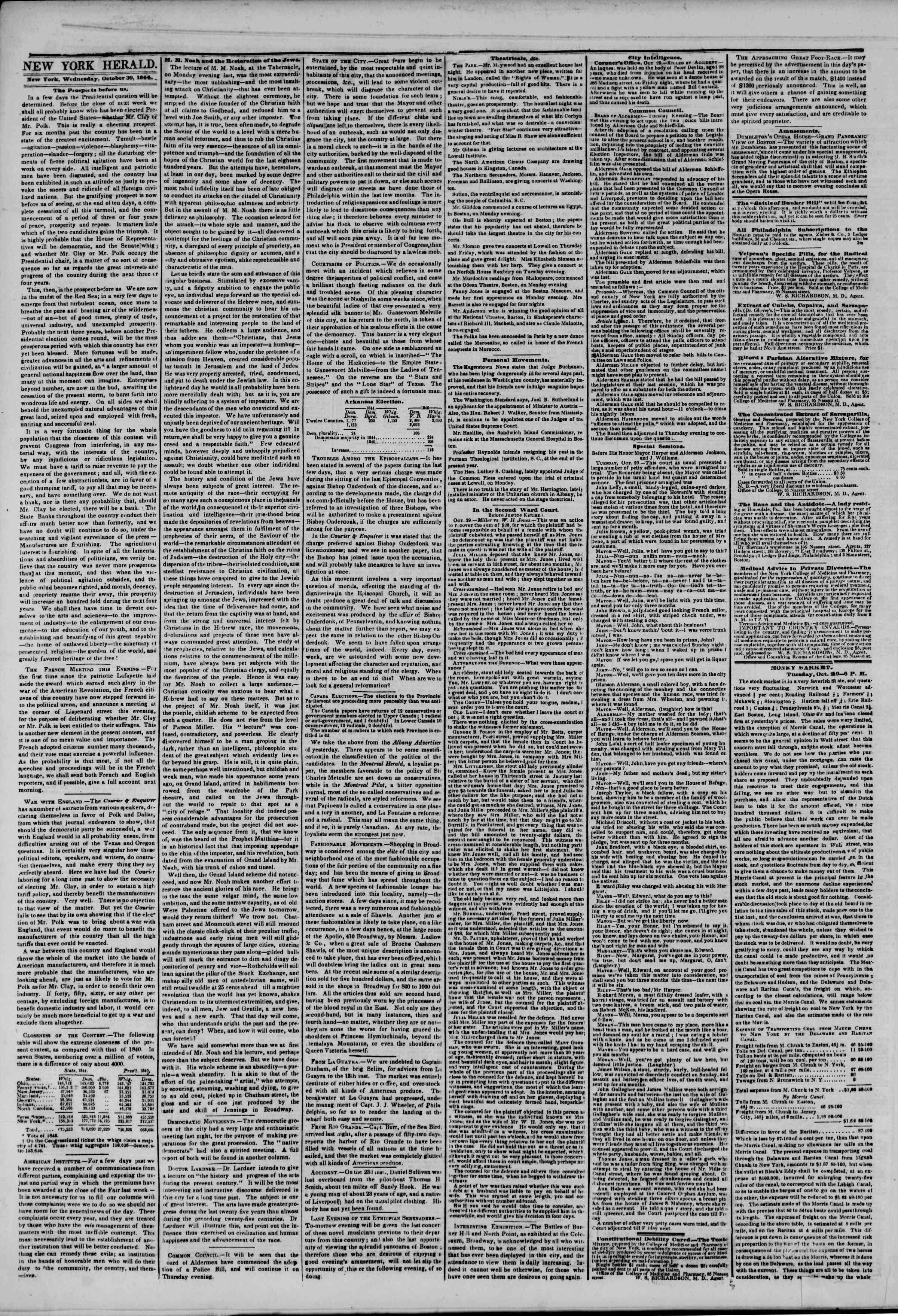 October 30, 1844 Tarihli The New York Herald Gazetesi Sayfa 2