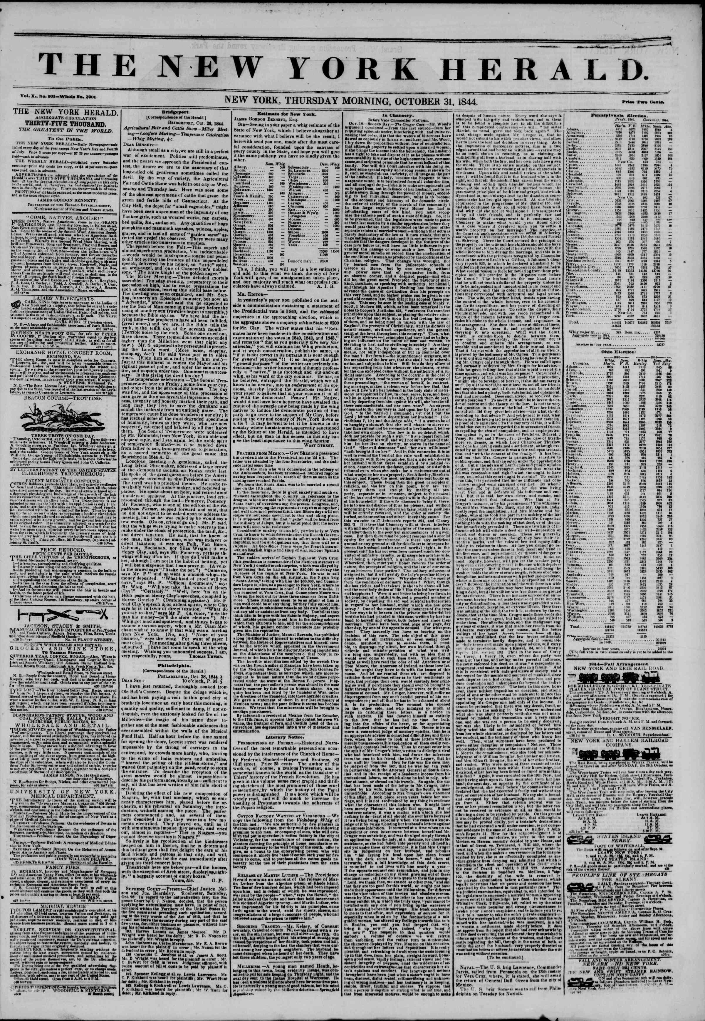 October 31, 1844 Tarihli The New York Herald Gazetesi Sayfa 1