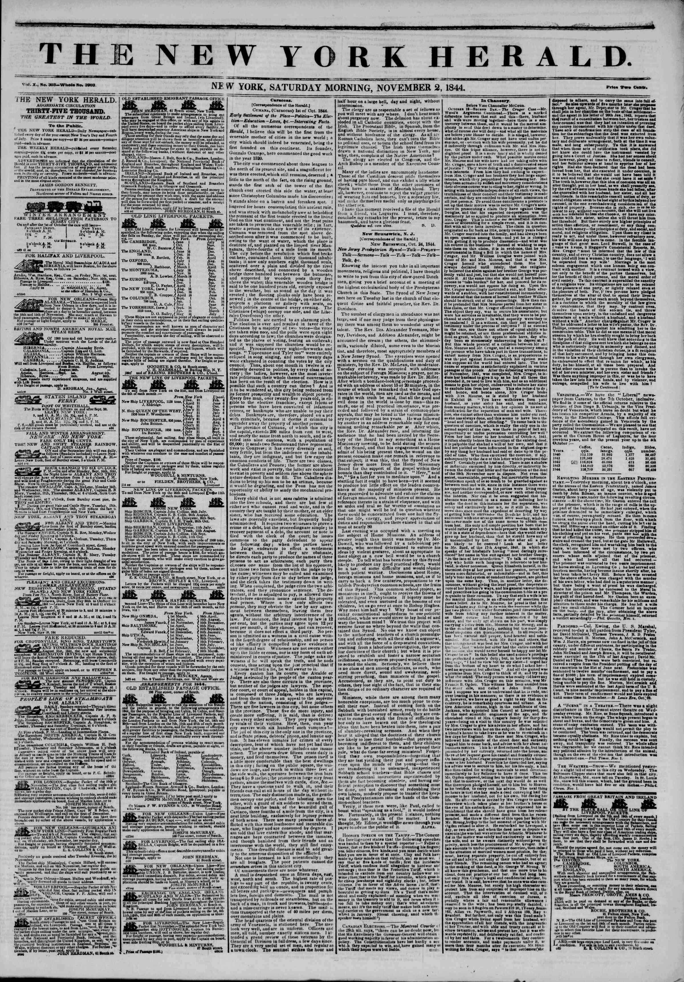 Newspaper of The New York Herald dated November 2, 1844 Page 1