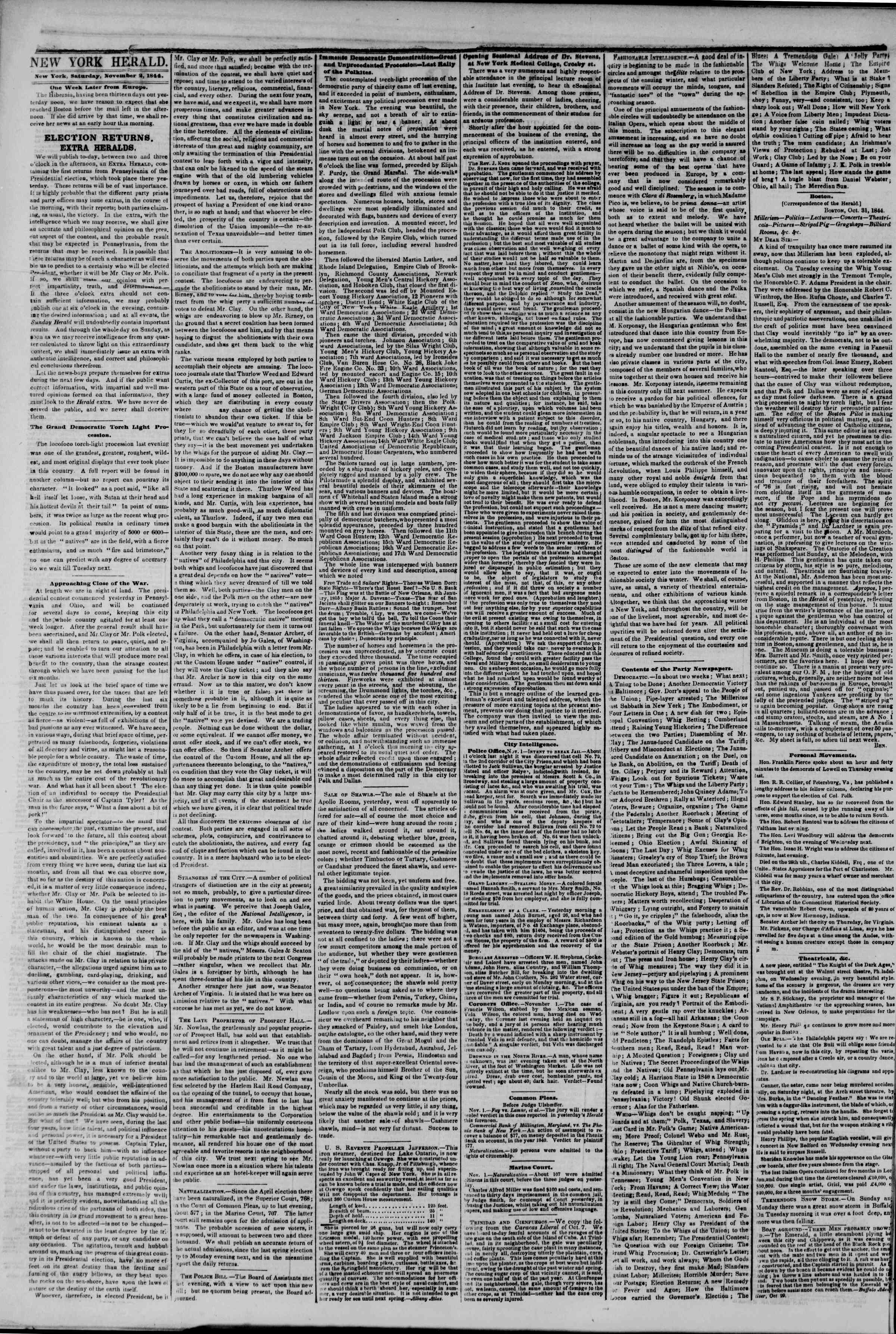 Newspaper of The New York Herald dated November 2, 1844 Page 2
