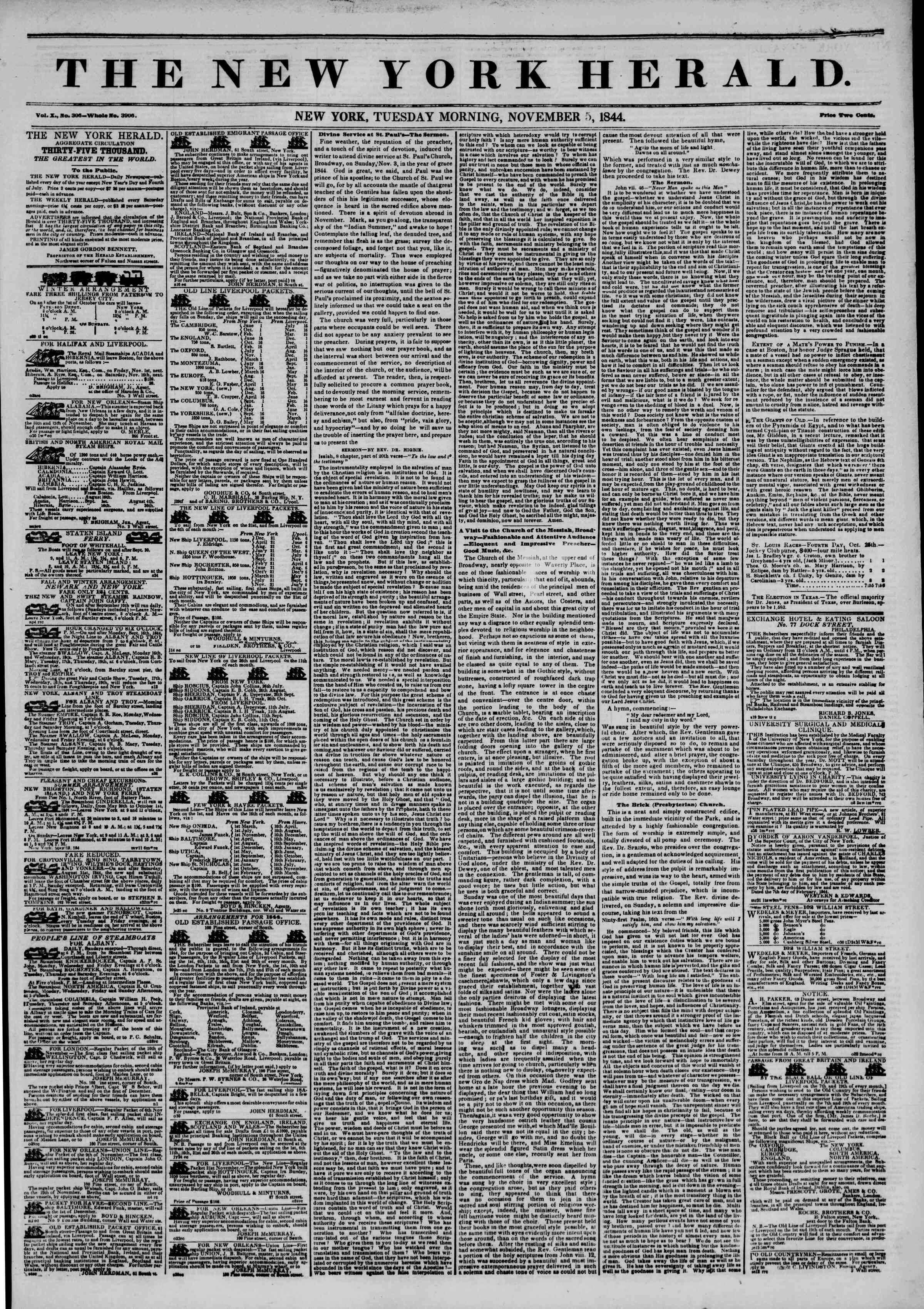 Newspaper of The New York Herald dated November 5, 1844 Page 1