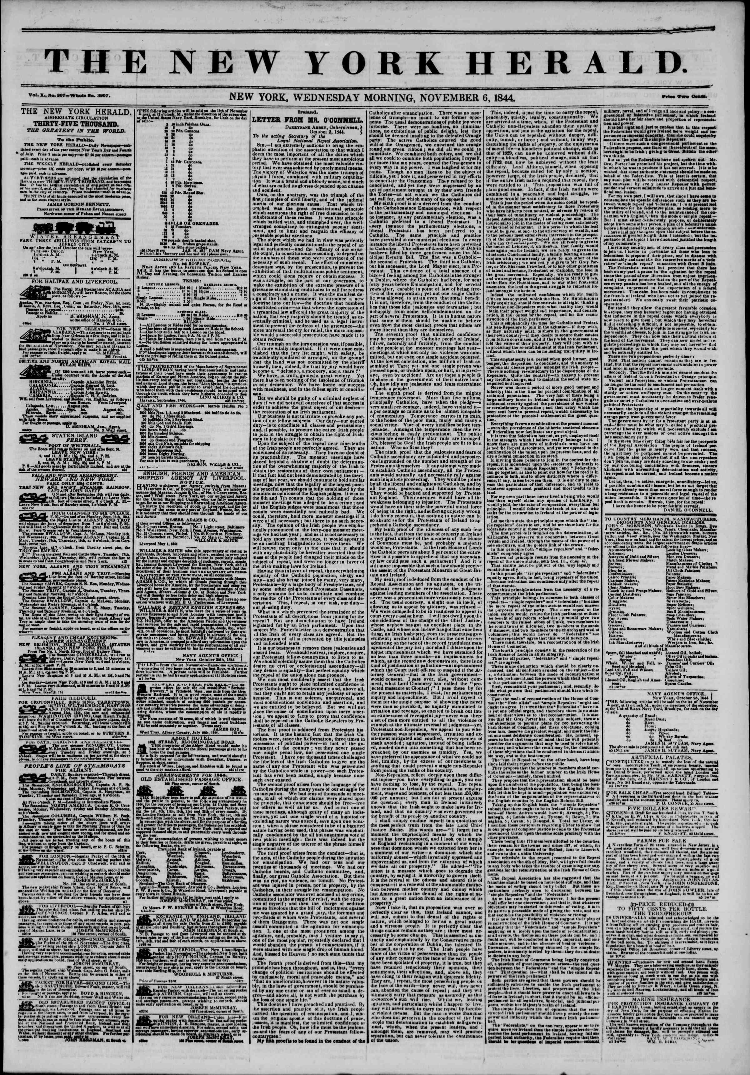 6 Kasım 1844 tarihli The New York Herald Gazetesi Sayfa 1