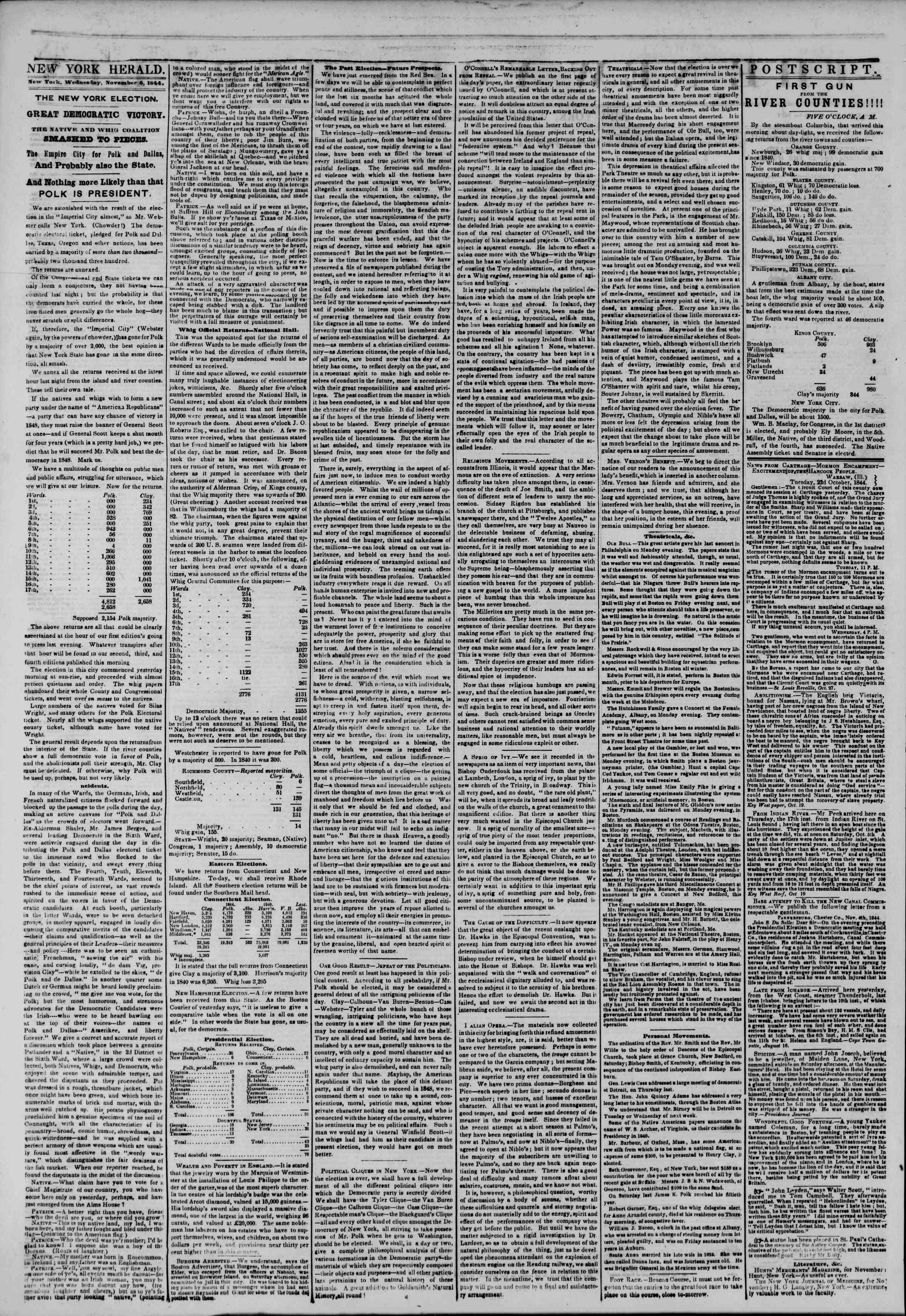 November 6, 1844 Tarihli The New York Herald Gazetesi Sayfa 2