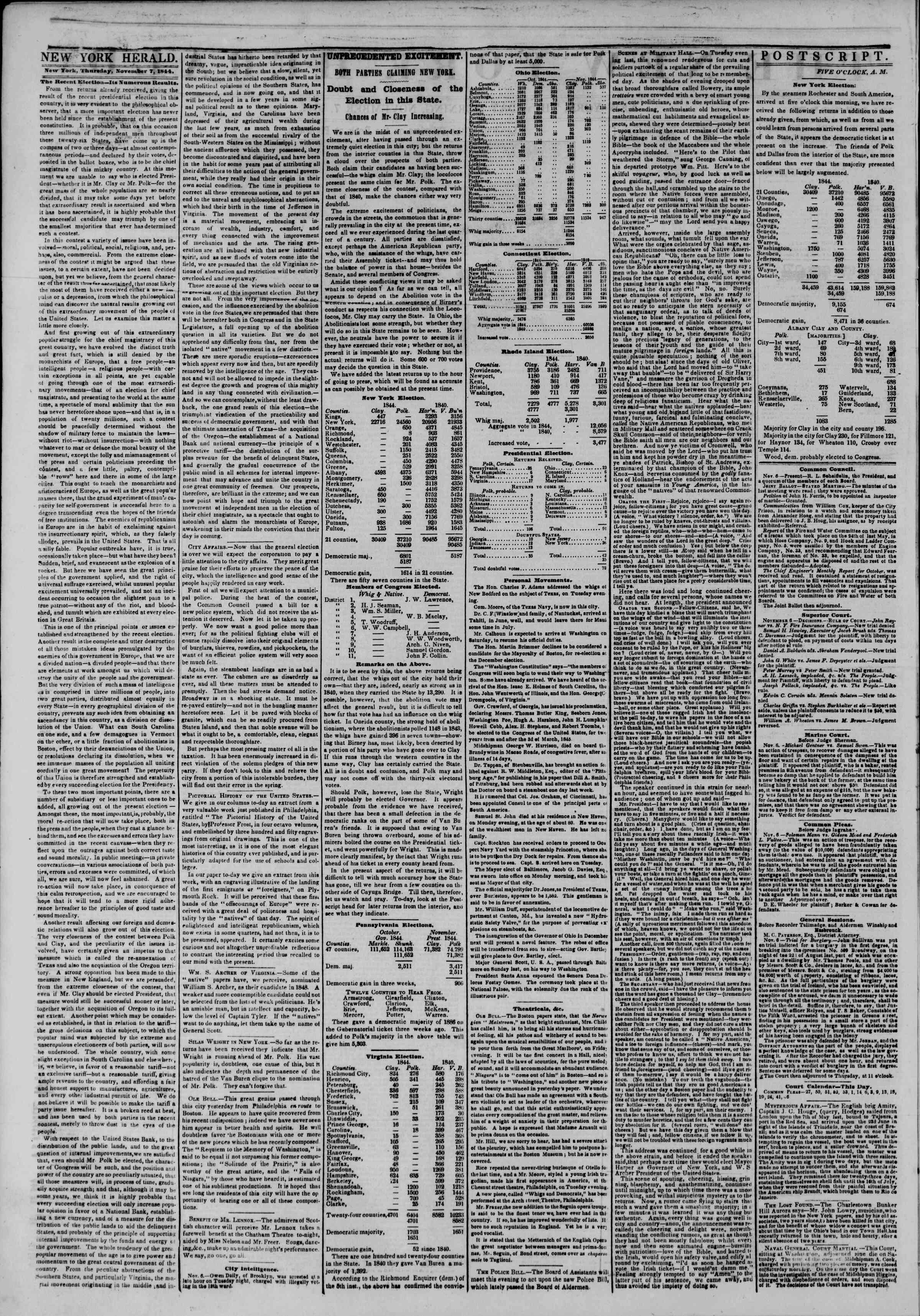 Newspaper of The New York Herald dated November 7, 1844 Page 2