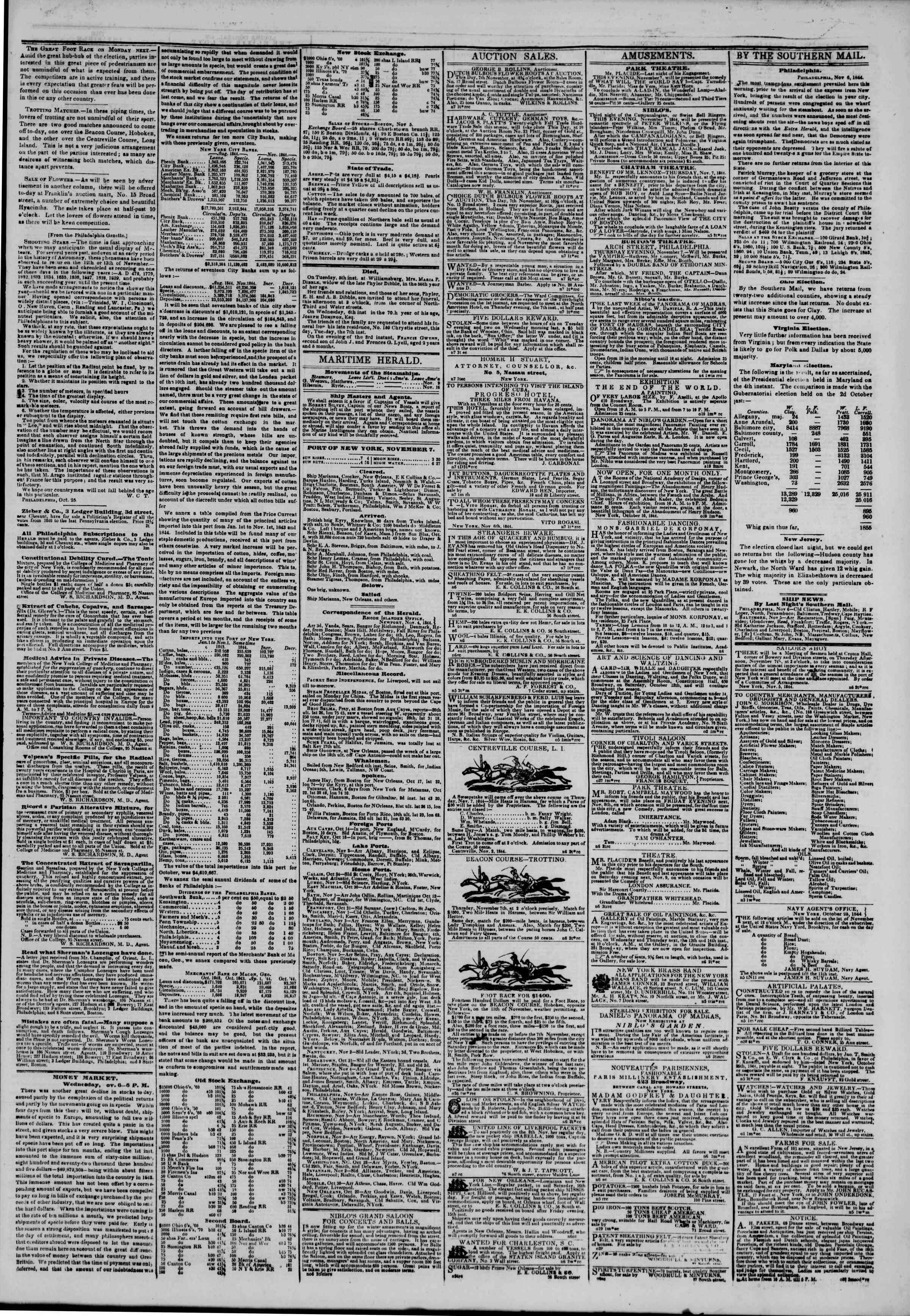 November 7, 1844 Tarihli The New York Herald Gazetesi Sayfa 3