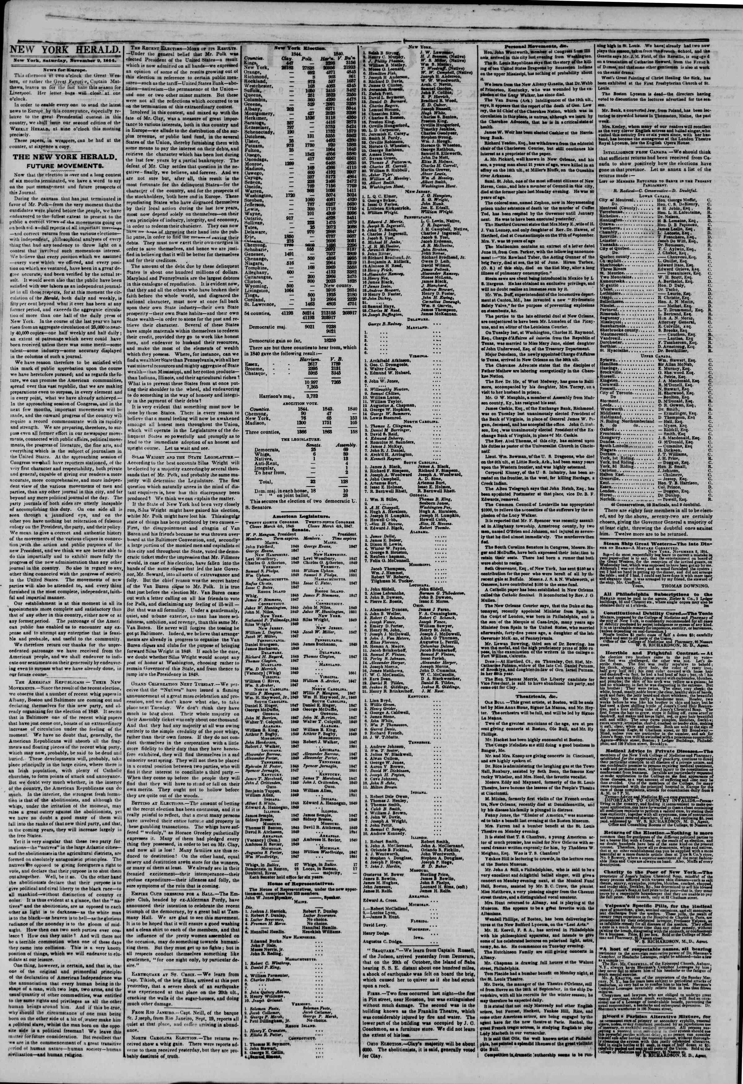 Newspaper of The New York Herald dated November 9, 1844 Page 2