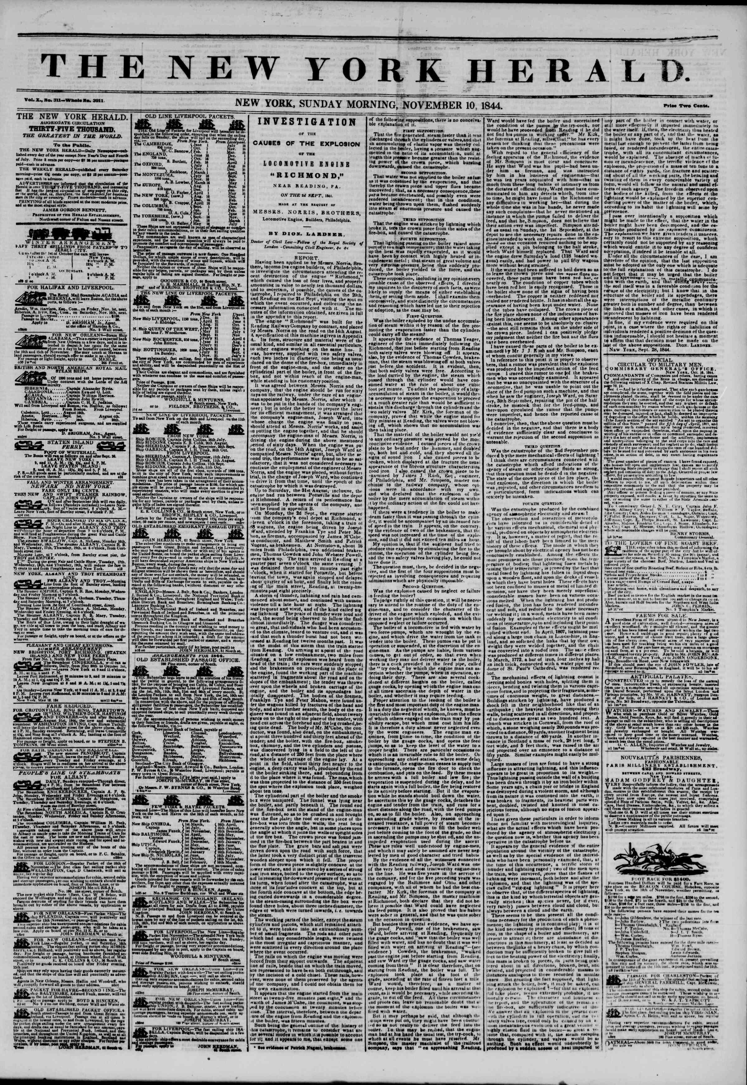 November 10, 1844 Tarihli The New York Herald Gazetesi Sayfa 1