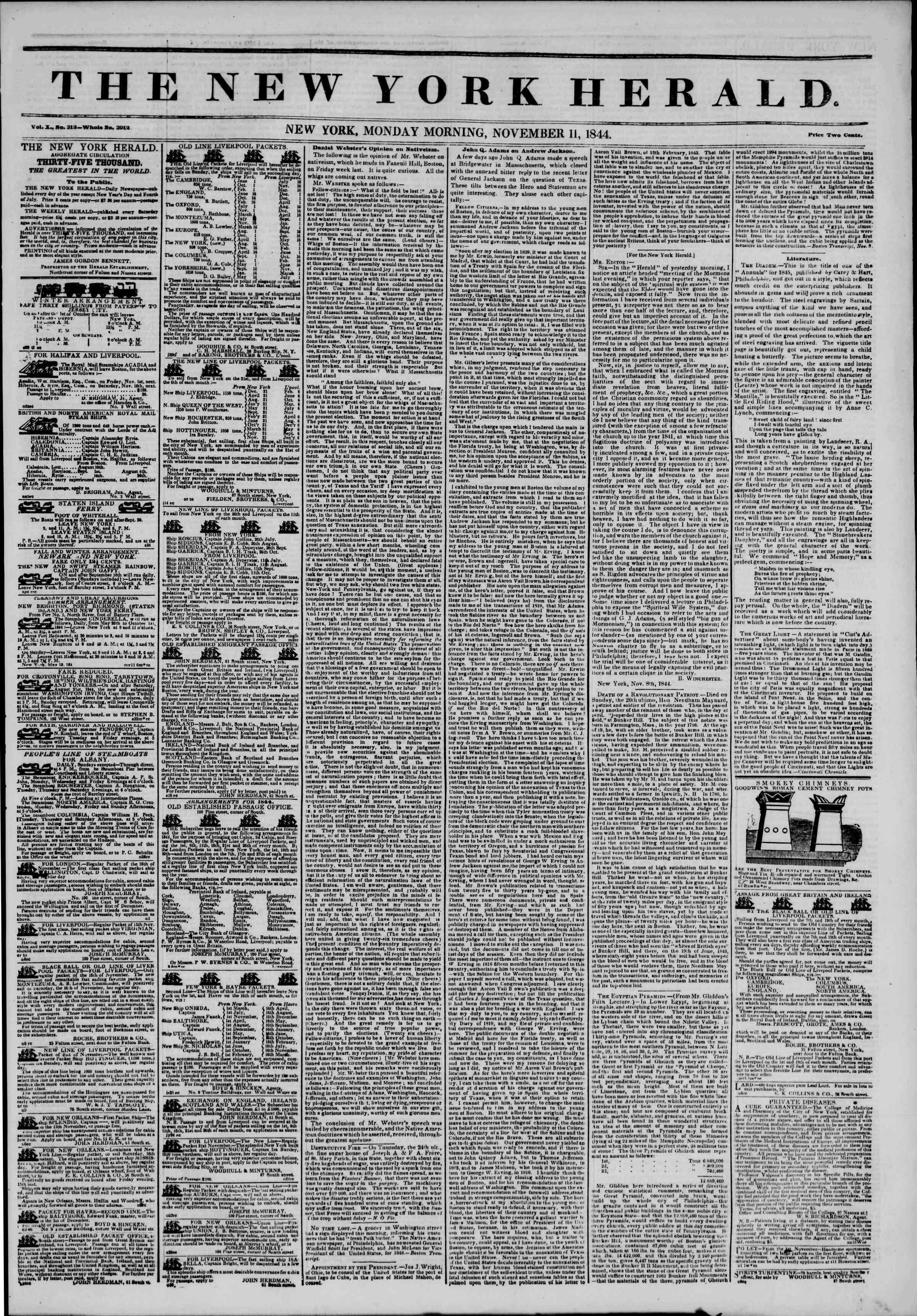 11 Kasım 1844 Tarihli The New York Herald Gazetesi Sayfa 1