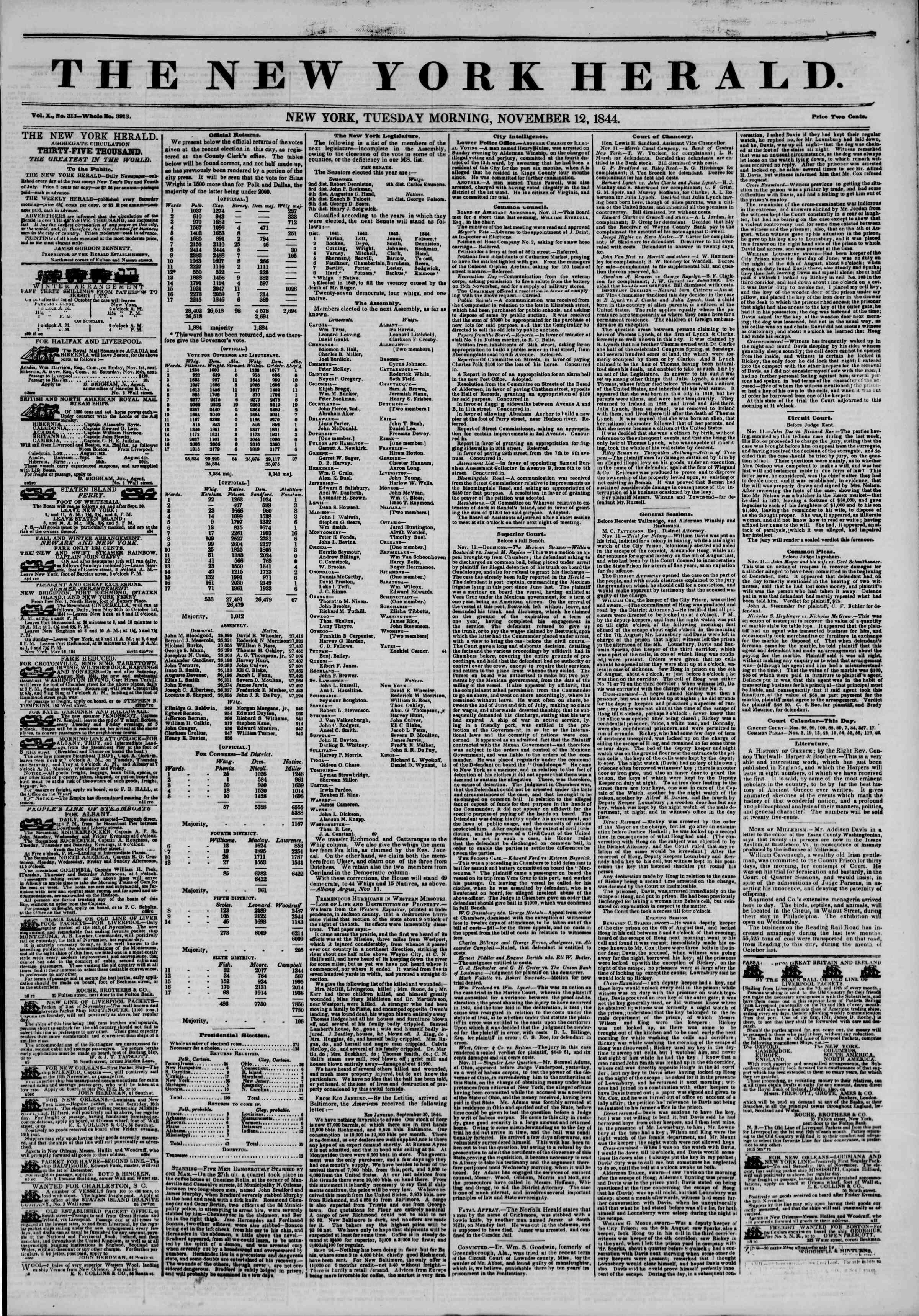 November 12, 1844 Tarihli The New York Herald Gazetesi Sayfa 1