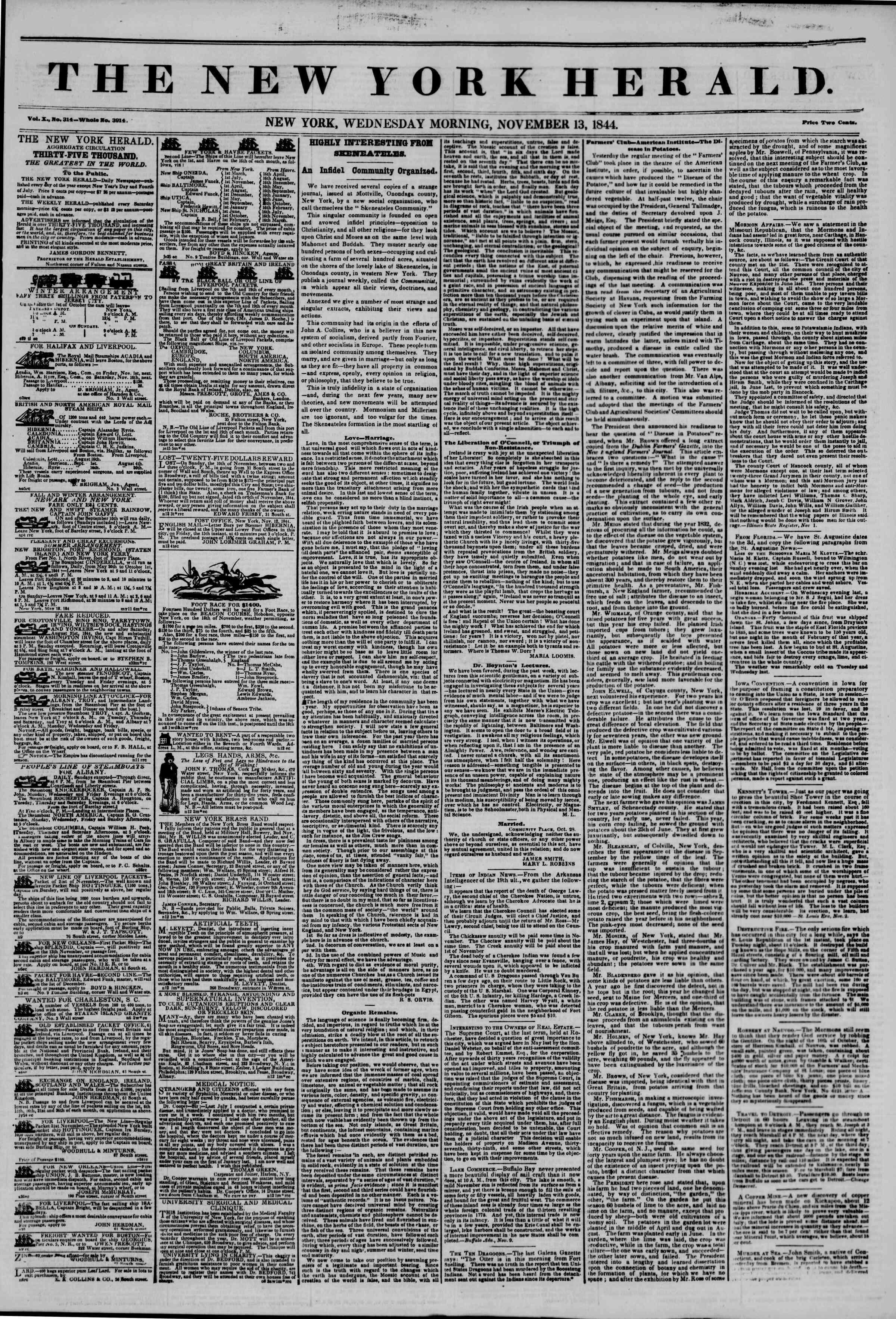 13 Kasım 1844 Tarihli The New York Herald Gazetesi Sayfa 1