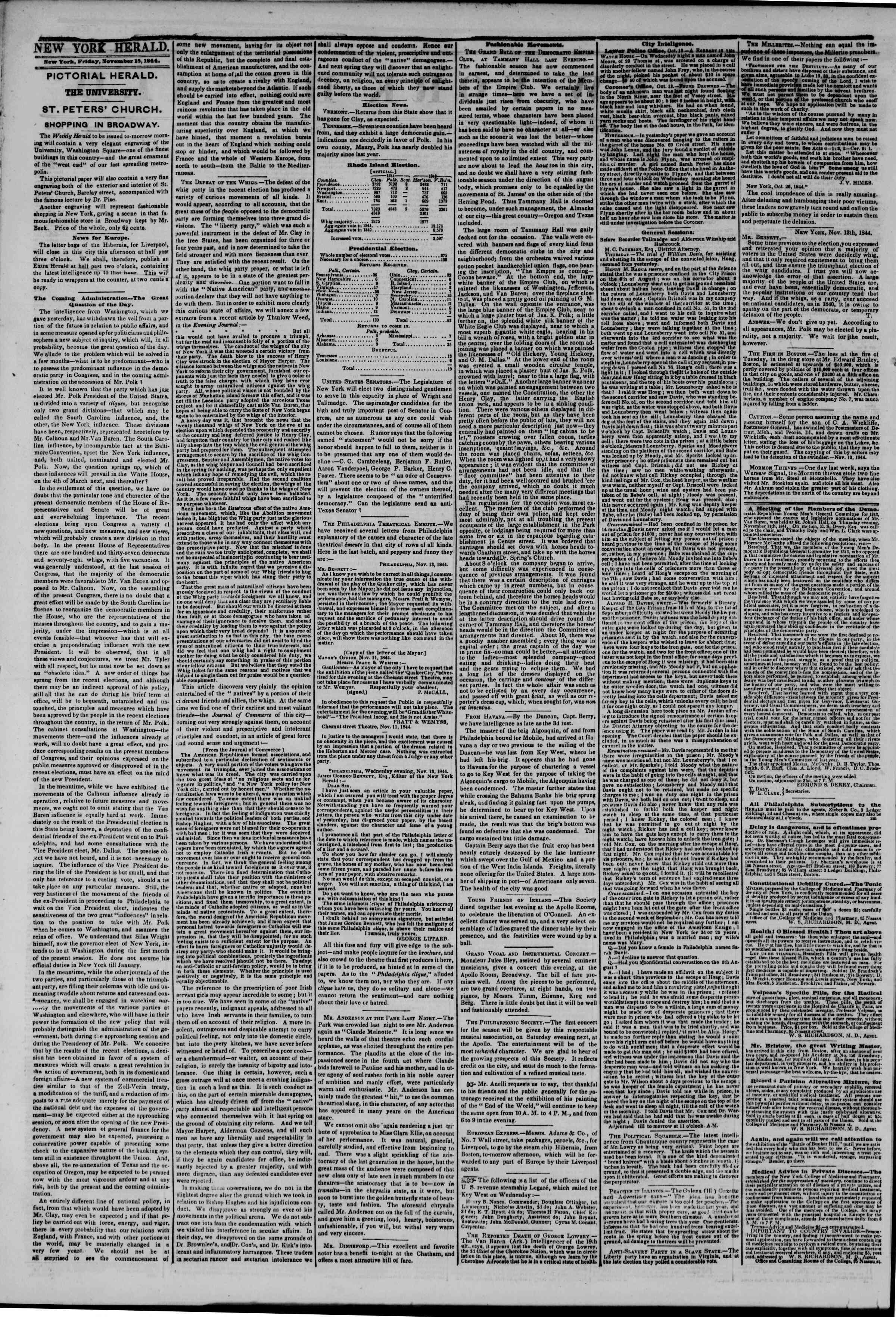 November 15, 1844 Tarihli The New York Herald Gazetesi Sayfa 2