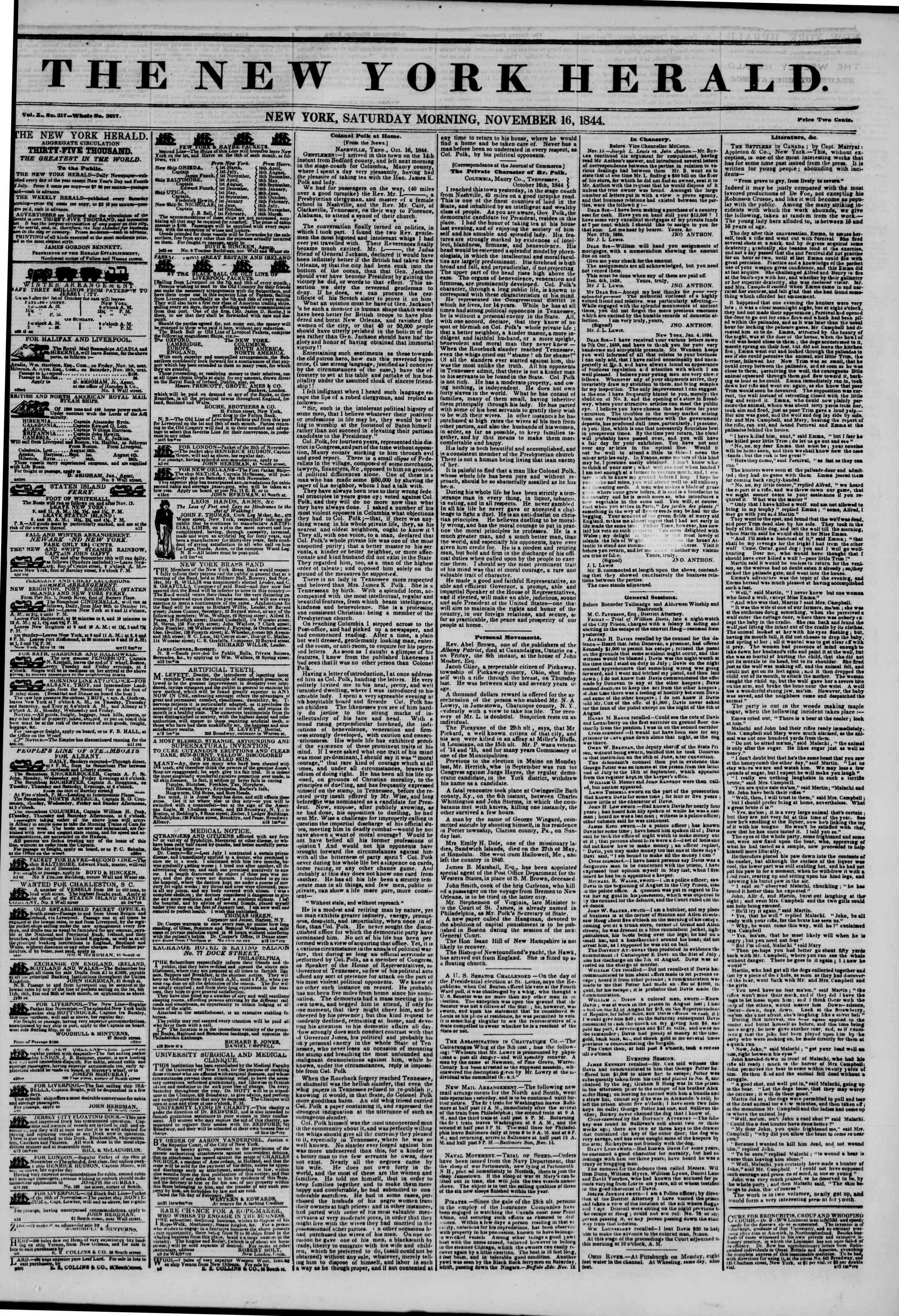 Newspaper of The New York Herald dated November 16, 1844 Page 1