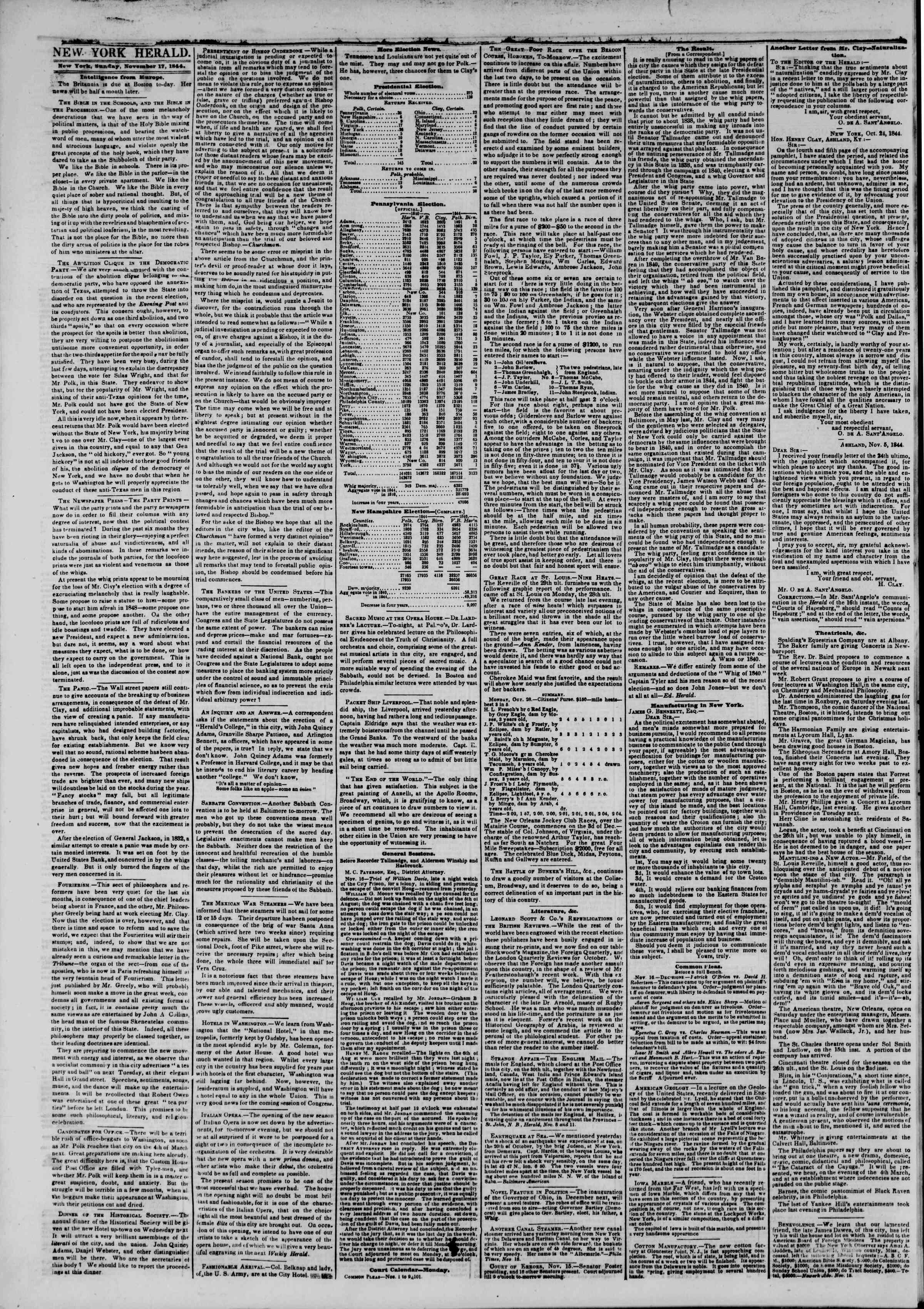 17 Kasım 1844 Tarihli The New York Herald Gazetesi Sayfa 2