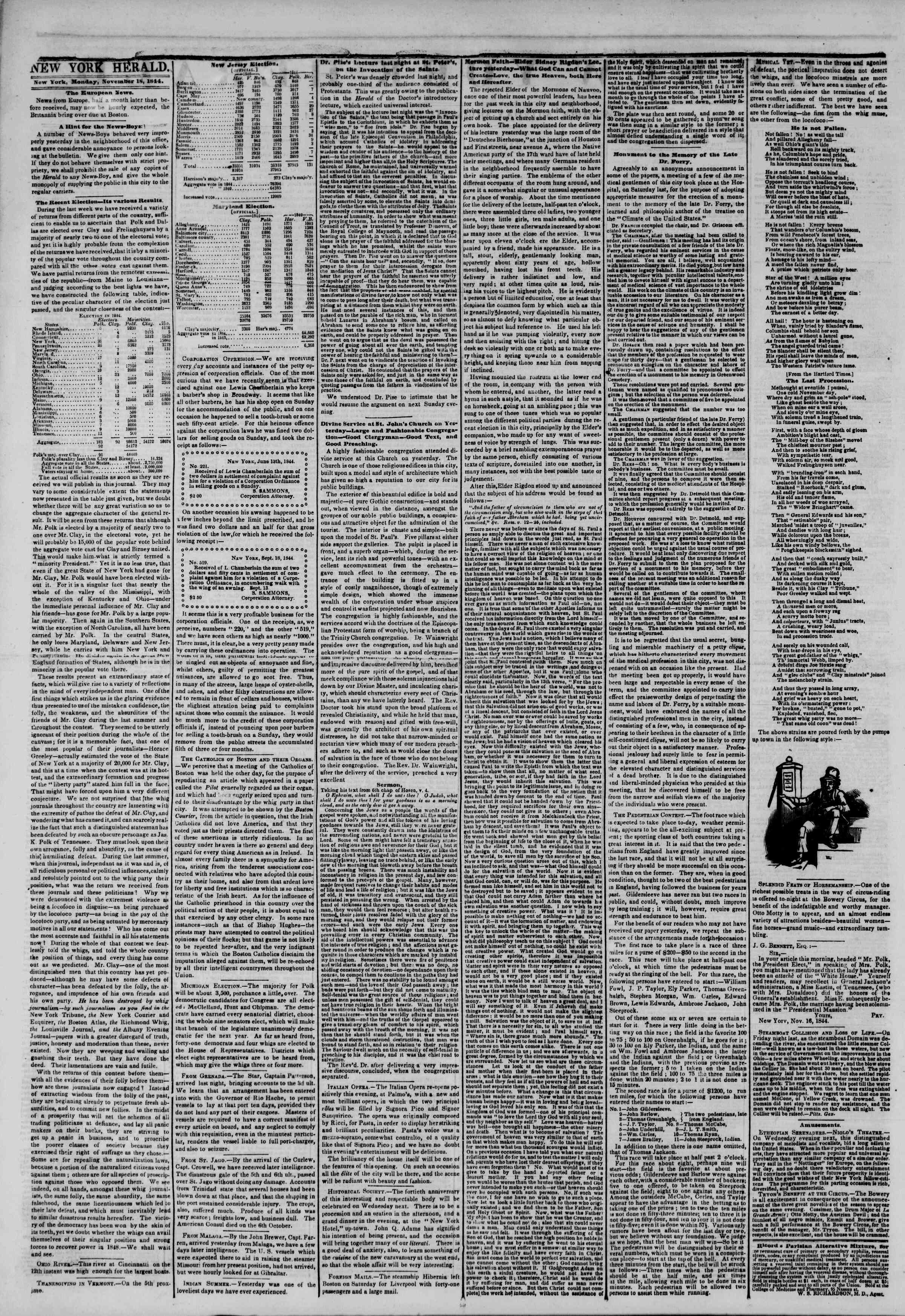 November 18, 1844 Tarihli The New York Herald Gazetesi Sayfa 2