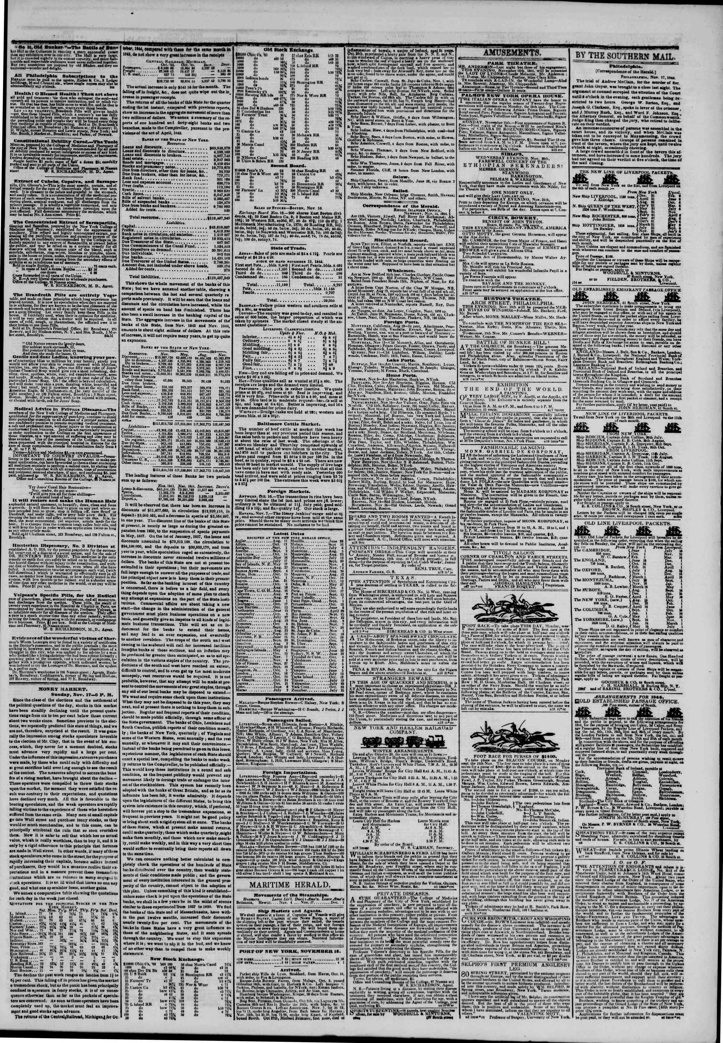 November 18, 1844 Tarihli The New York Herald Gazetesi Sayfa 3