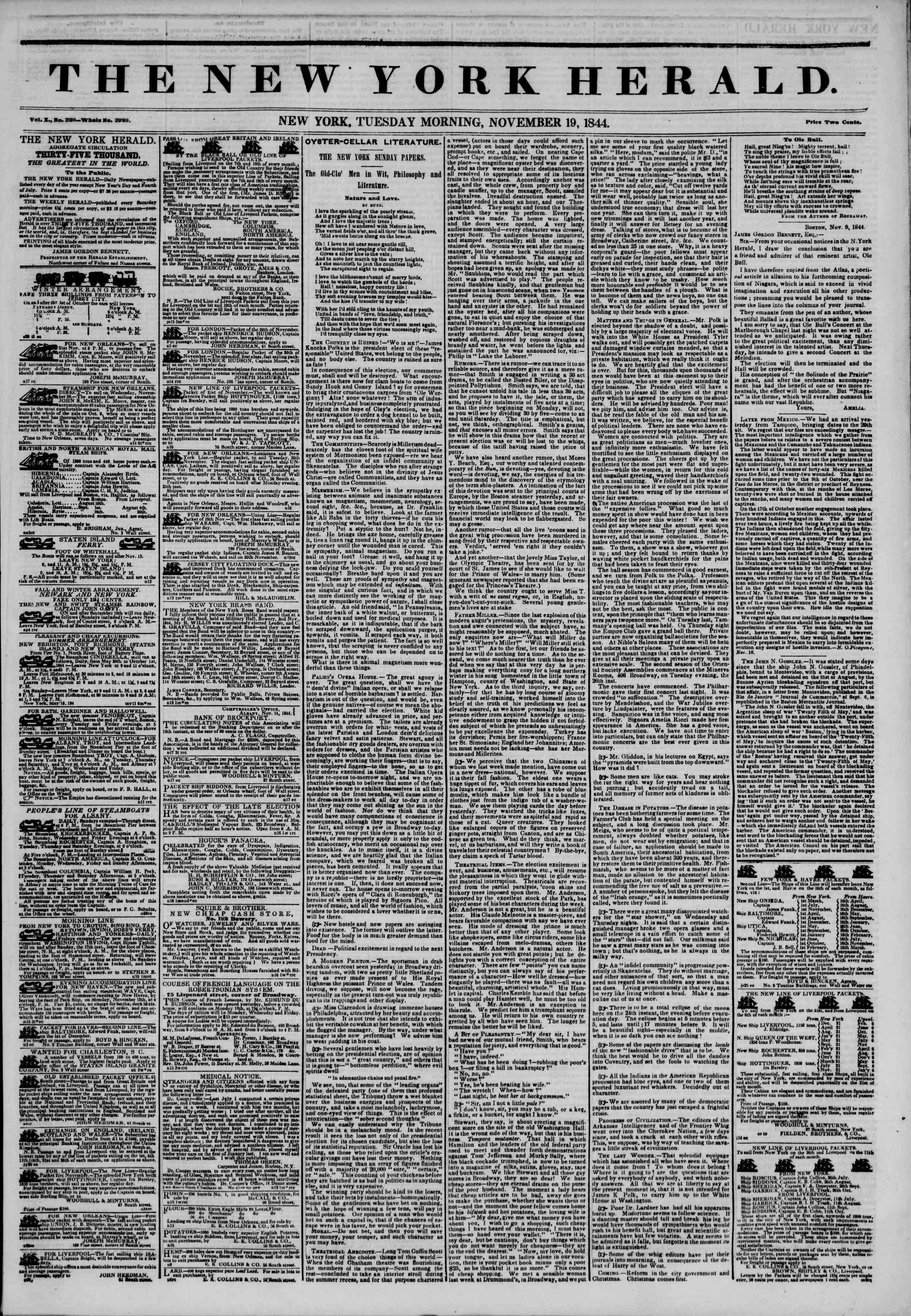 November 19, 1844 Tarihli The New York Herald Gazetesi Sayfa 1