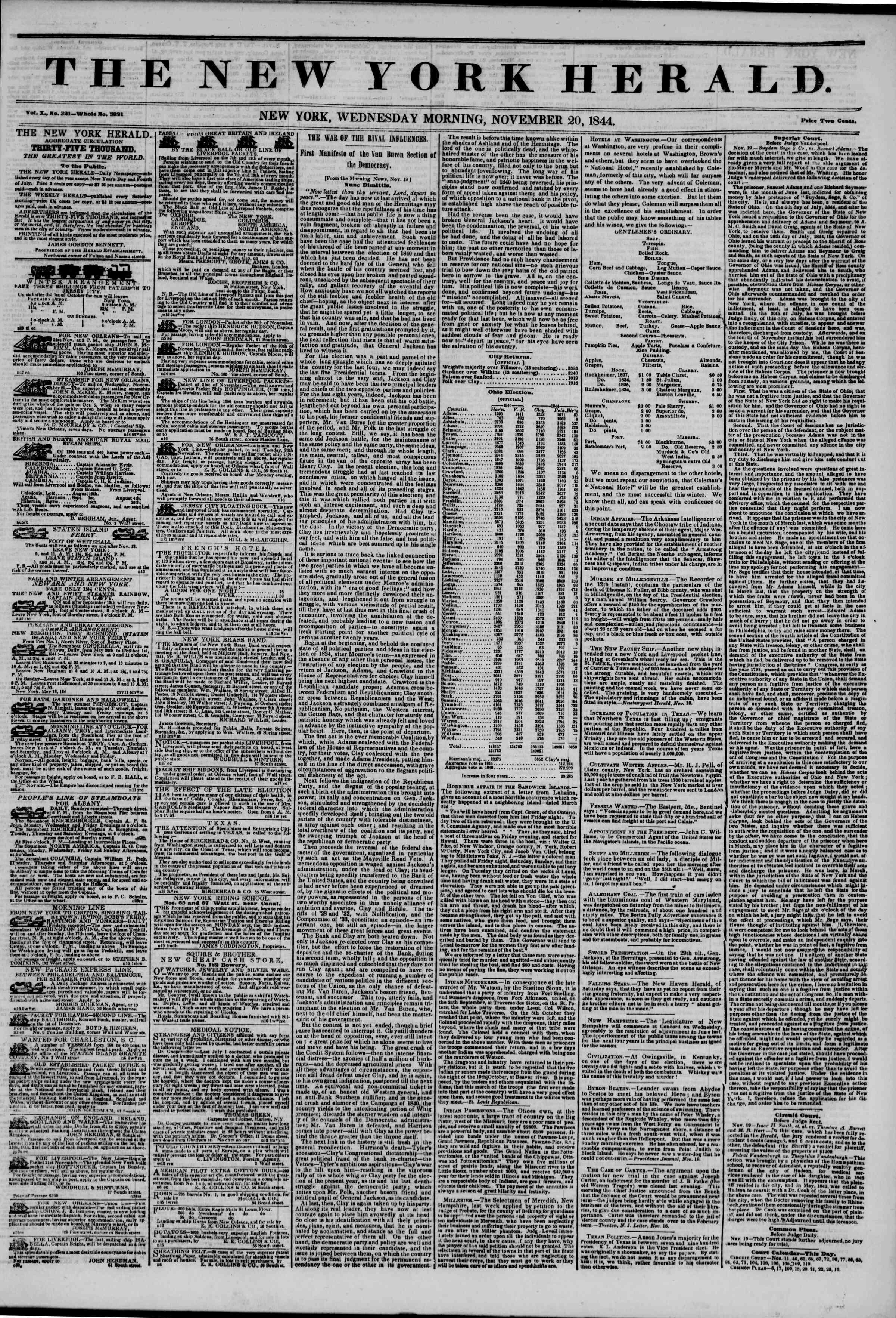 November 20, 1844 Tarihli The New York Herald Gazetesi Sayfa 1