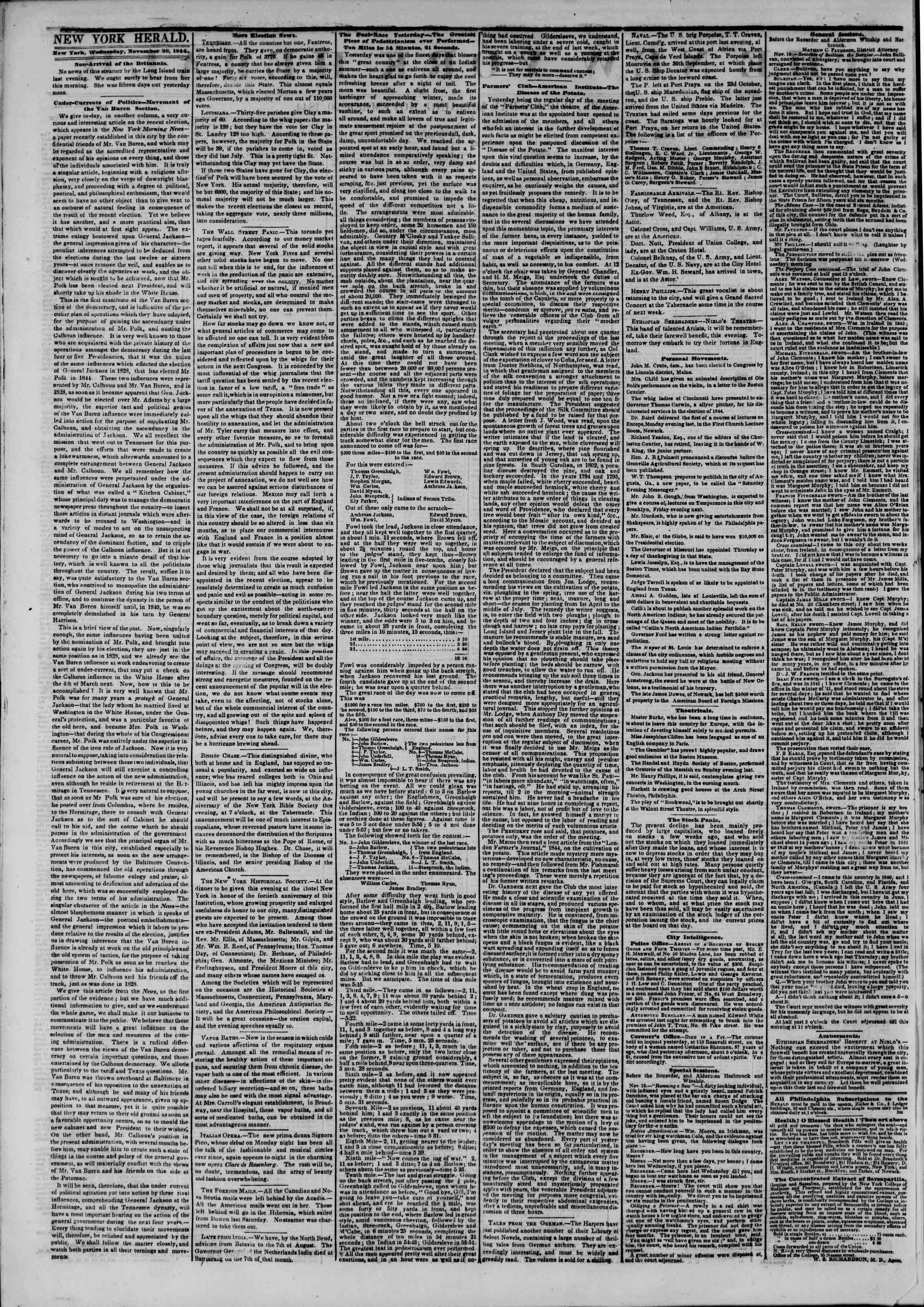 Newspaper of The New York Herald dated November 20, 1844 Page 2