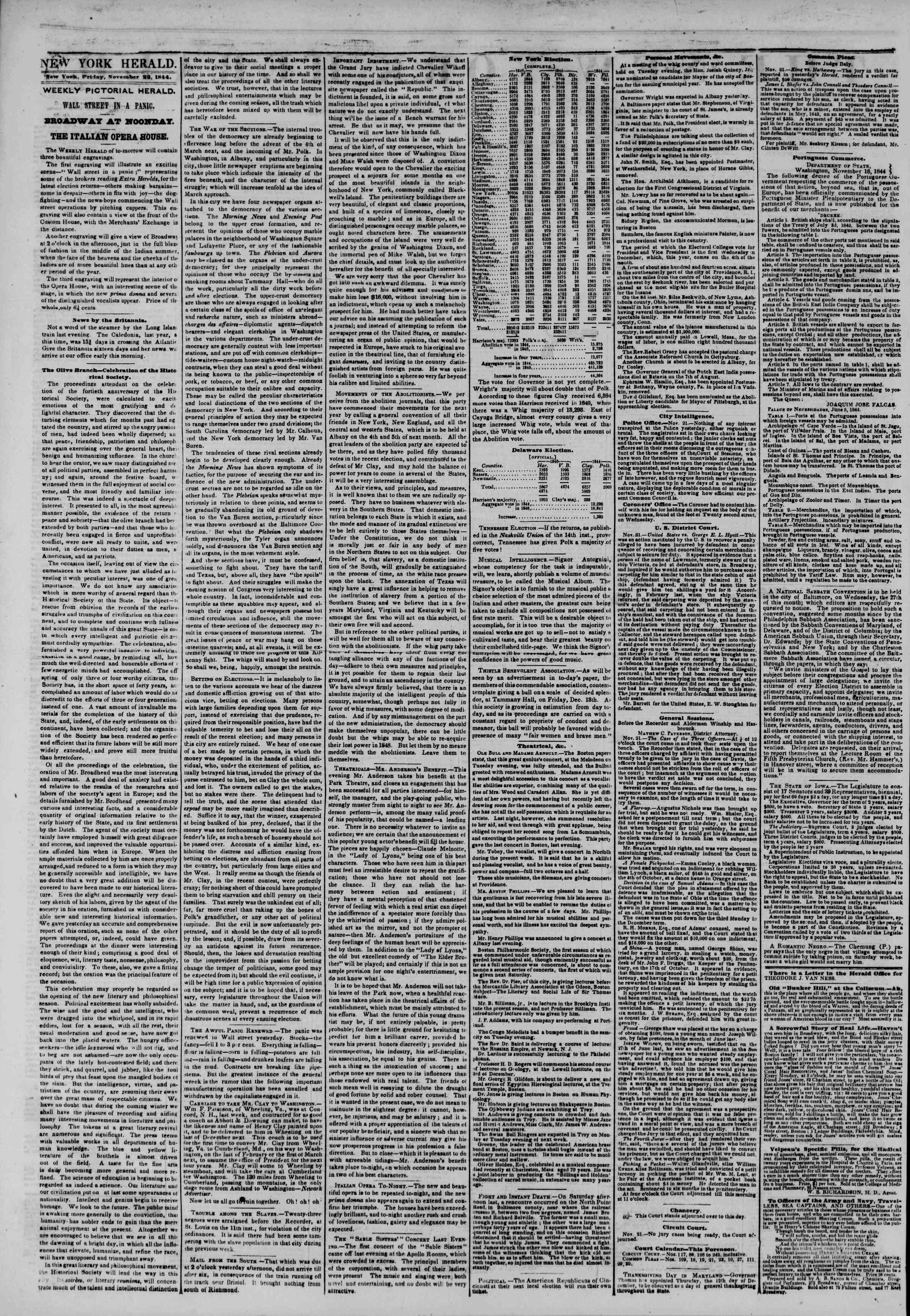 November 22, 1844 Tarihli The New York Herald Gazetesi Sayfa 2