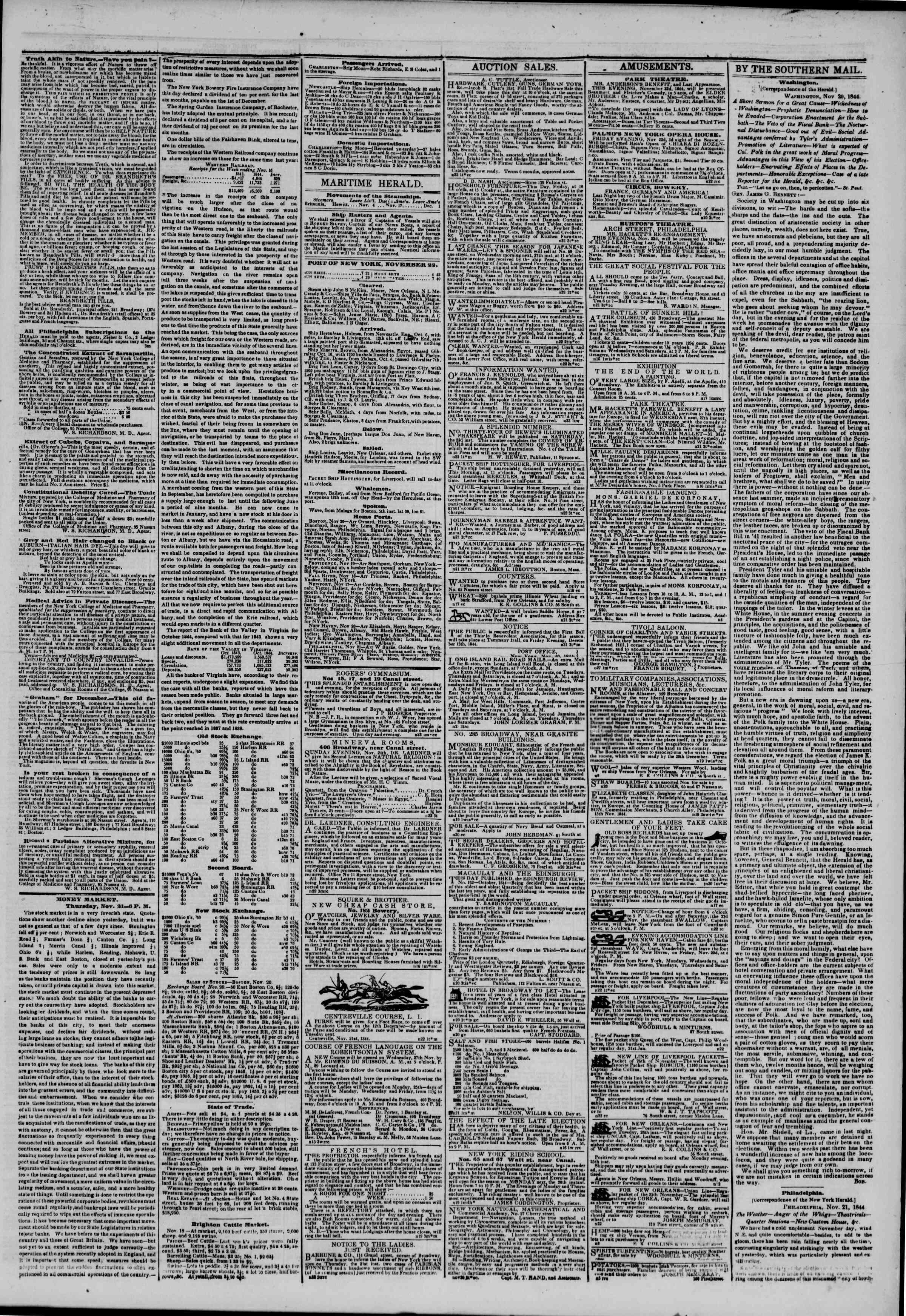 November 22, 1844 Tarihli The New York Herald Gazetesi Sayfa 3