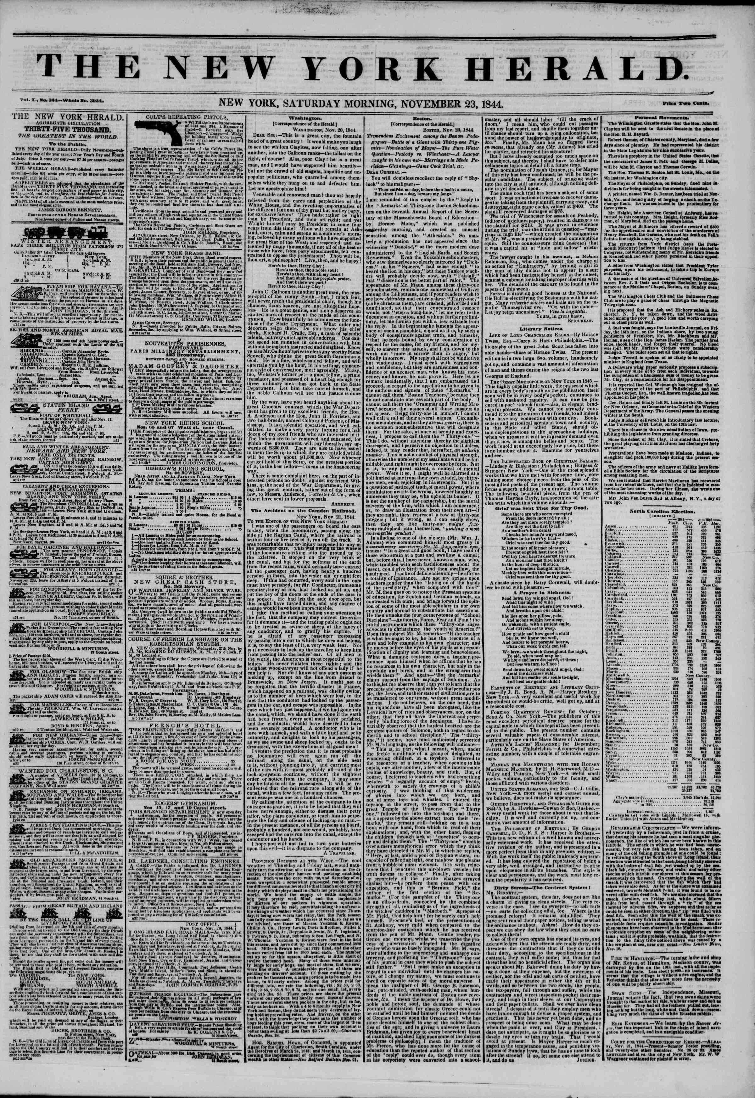 November 23, 1844 Tarihli The New York Herald Gazetesi Sayfa 1