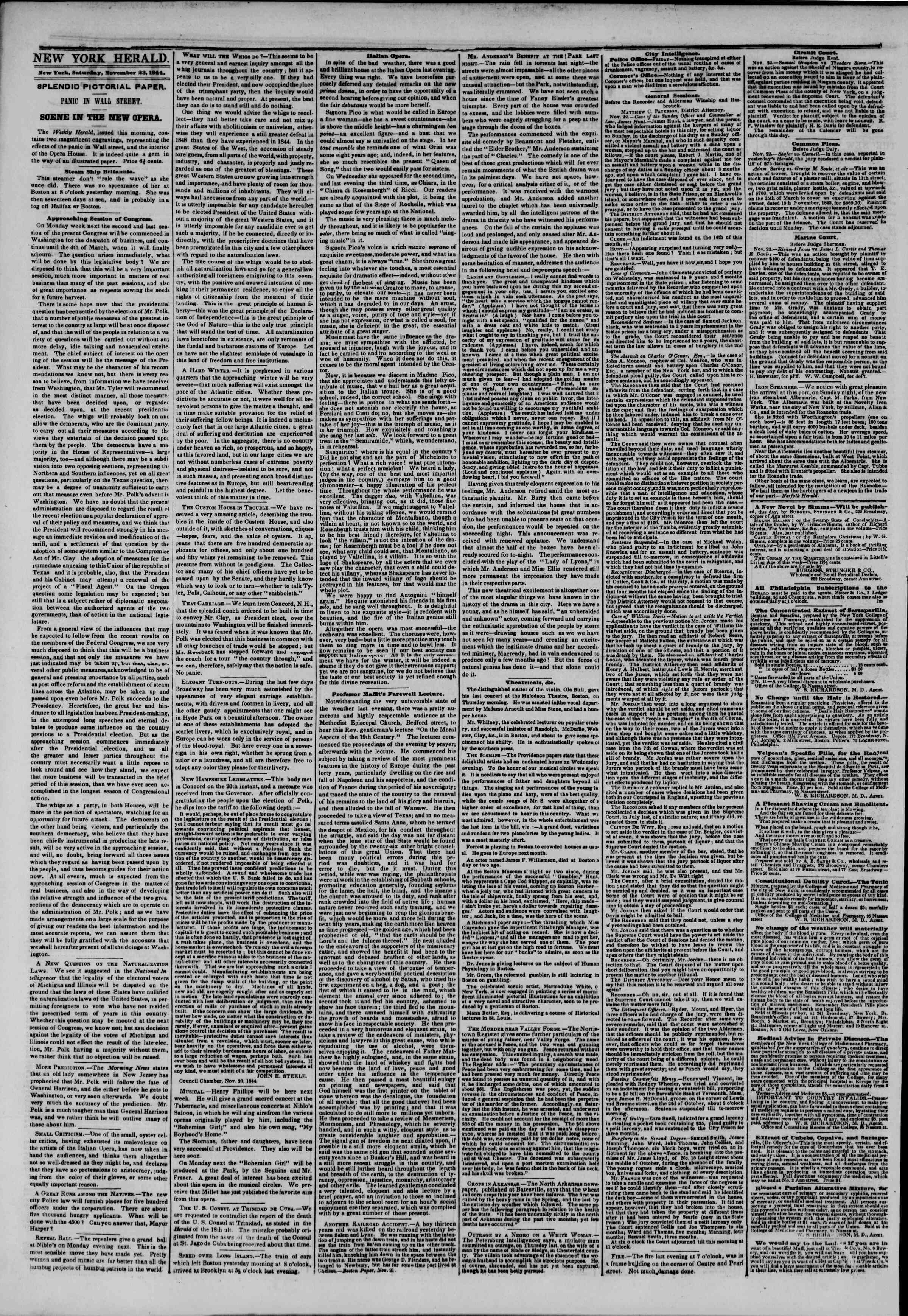 Newspaper of The New York Herald dated 23 Kasım 1844 Page 2