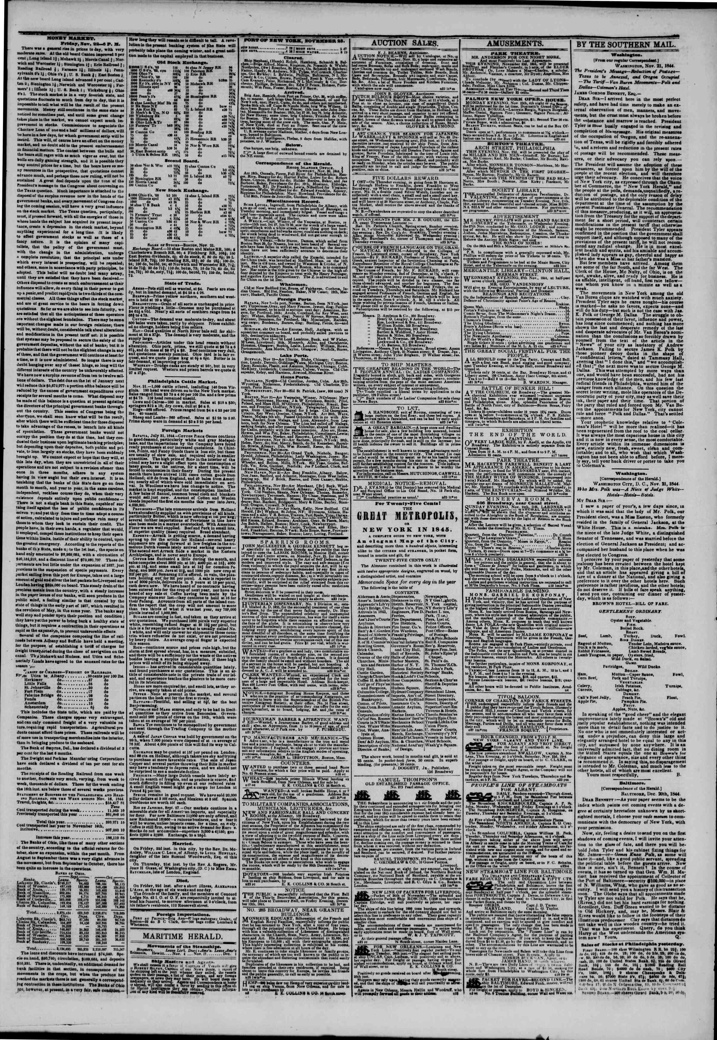 November 23, 1844 Tarihli The New York Herald Gazetesi Sayfa 3