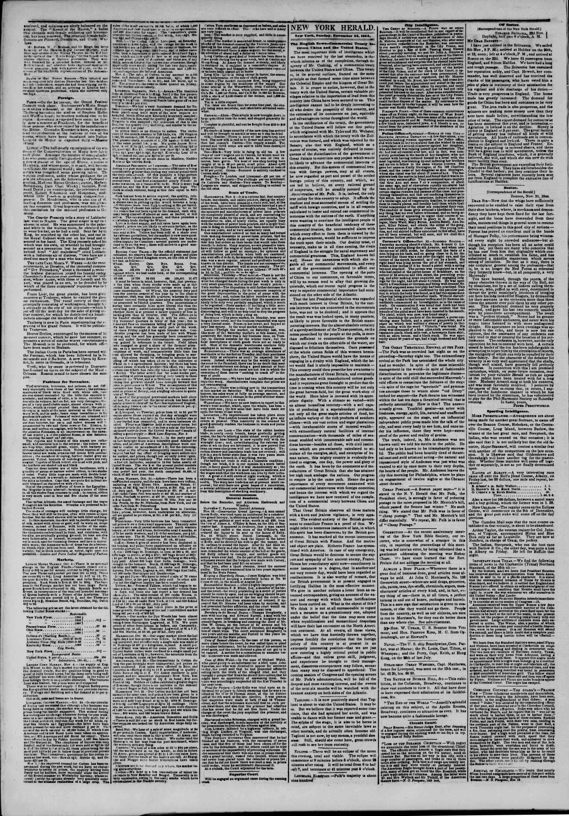 November 24, 1844 Tarihli The New York Herald Gazetesi Sayfa 2
