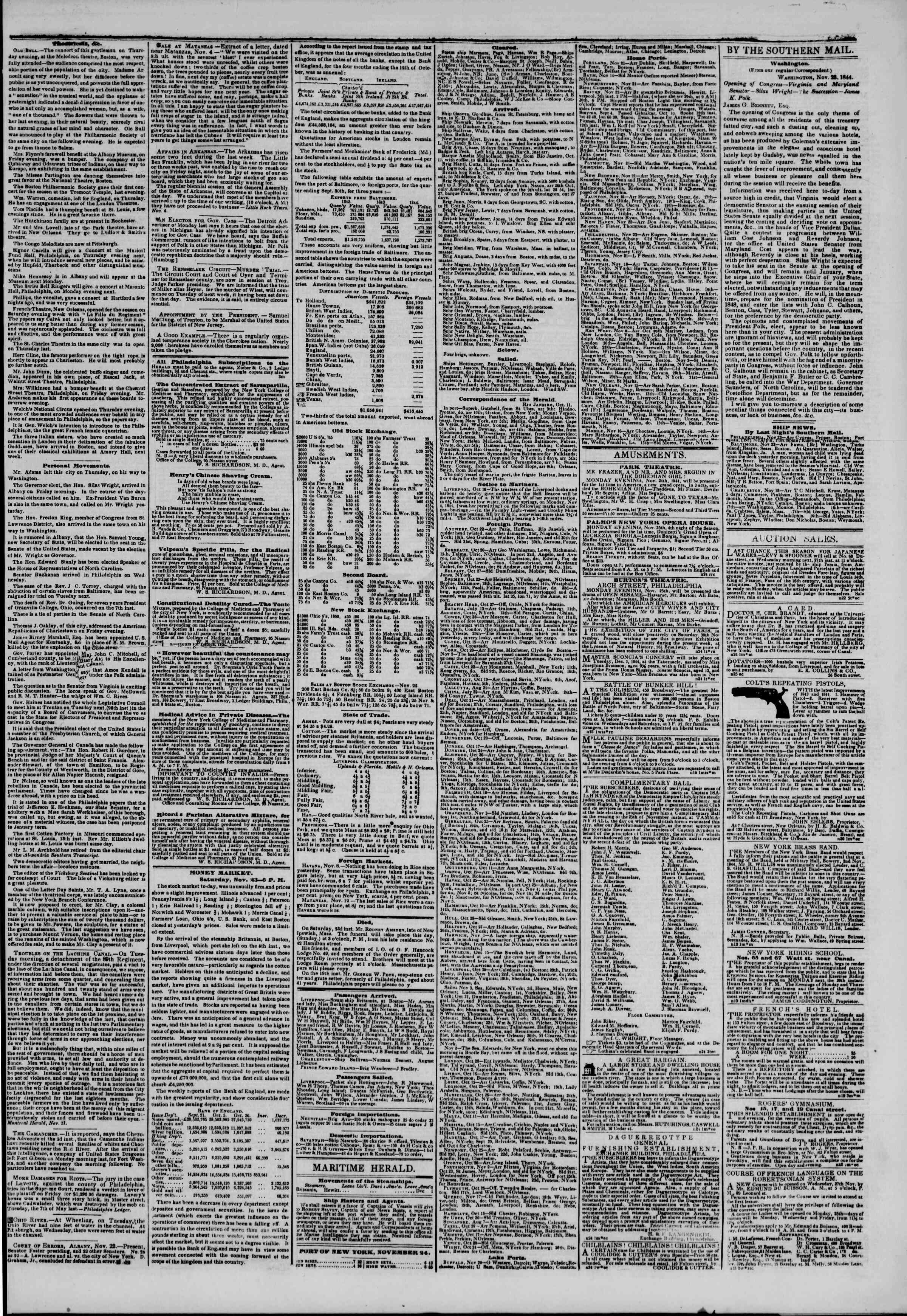 November 24, 1844 Tarihli The New York Herald Gazetesi Sayfa 3