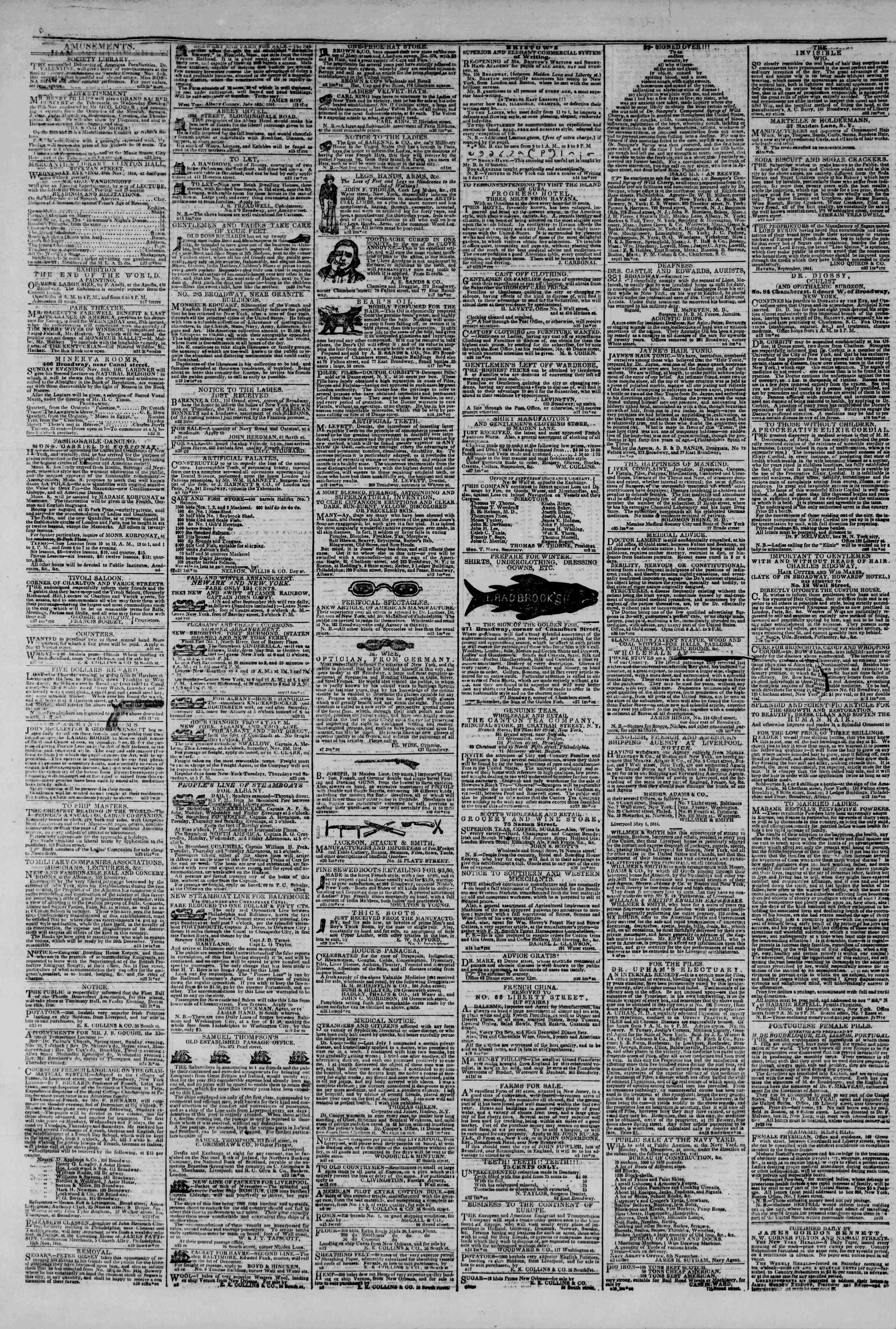 November 24, 1844 Tarihli The New York Herald Gazetesi Sayfa 4