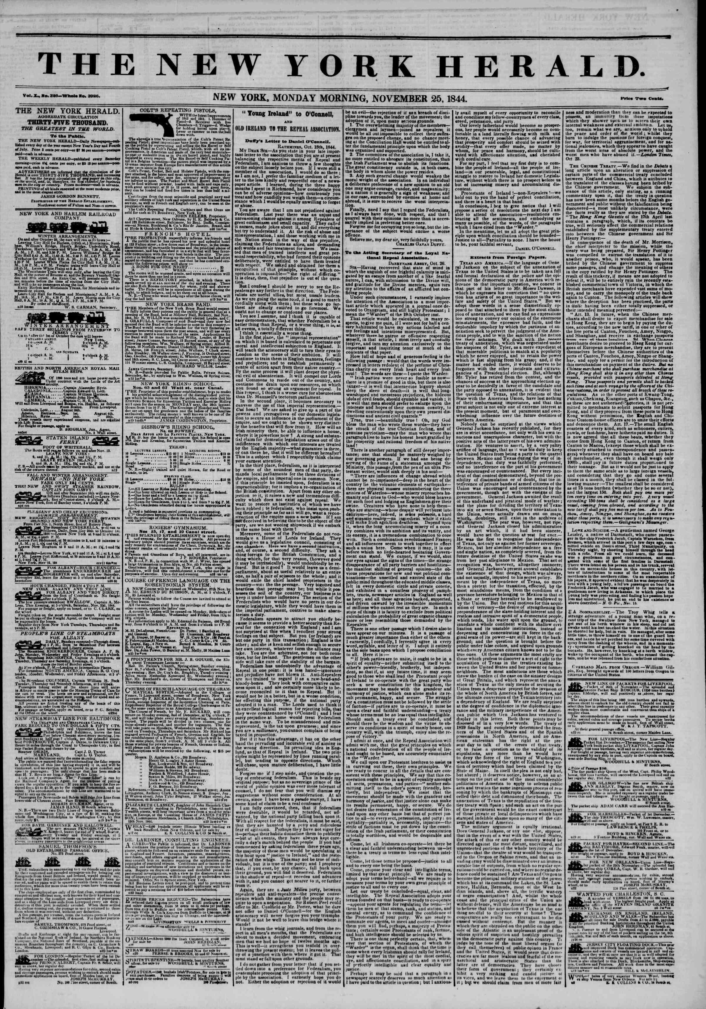 25 Kasım 1844 Tarihli The New York Herald Gazetesi Sayfa 1