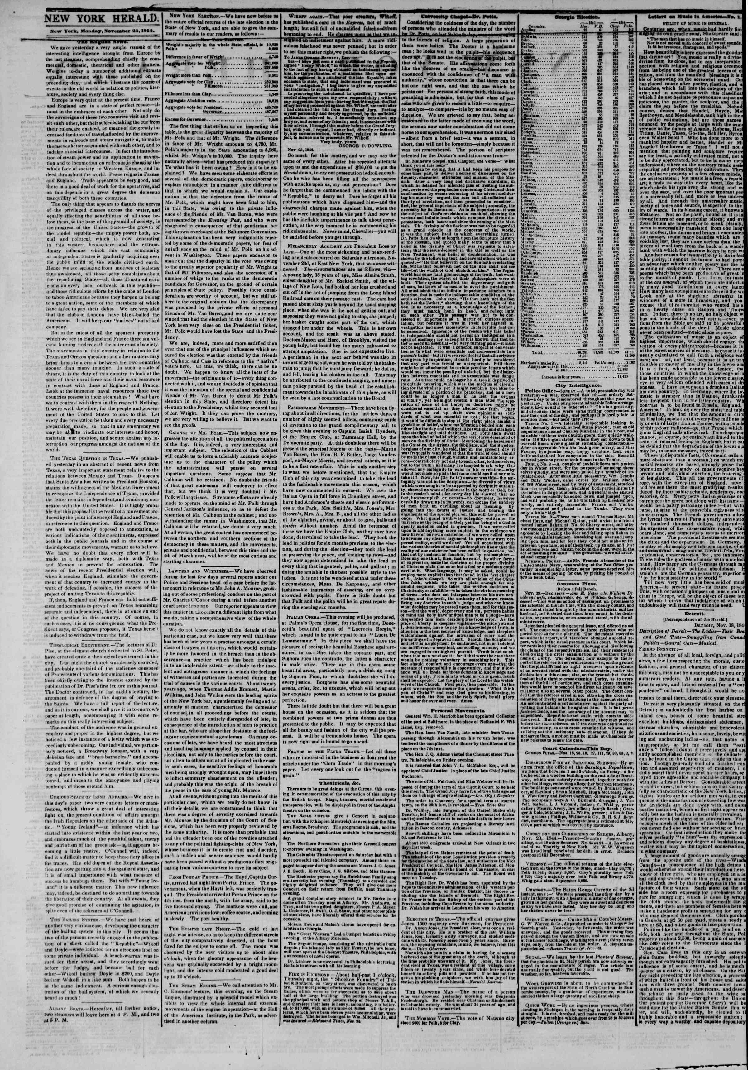 Newspaper of The New York Herald dated November 25, 1844 Page 2