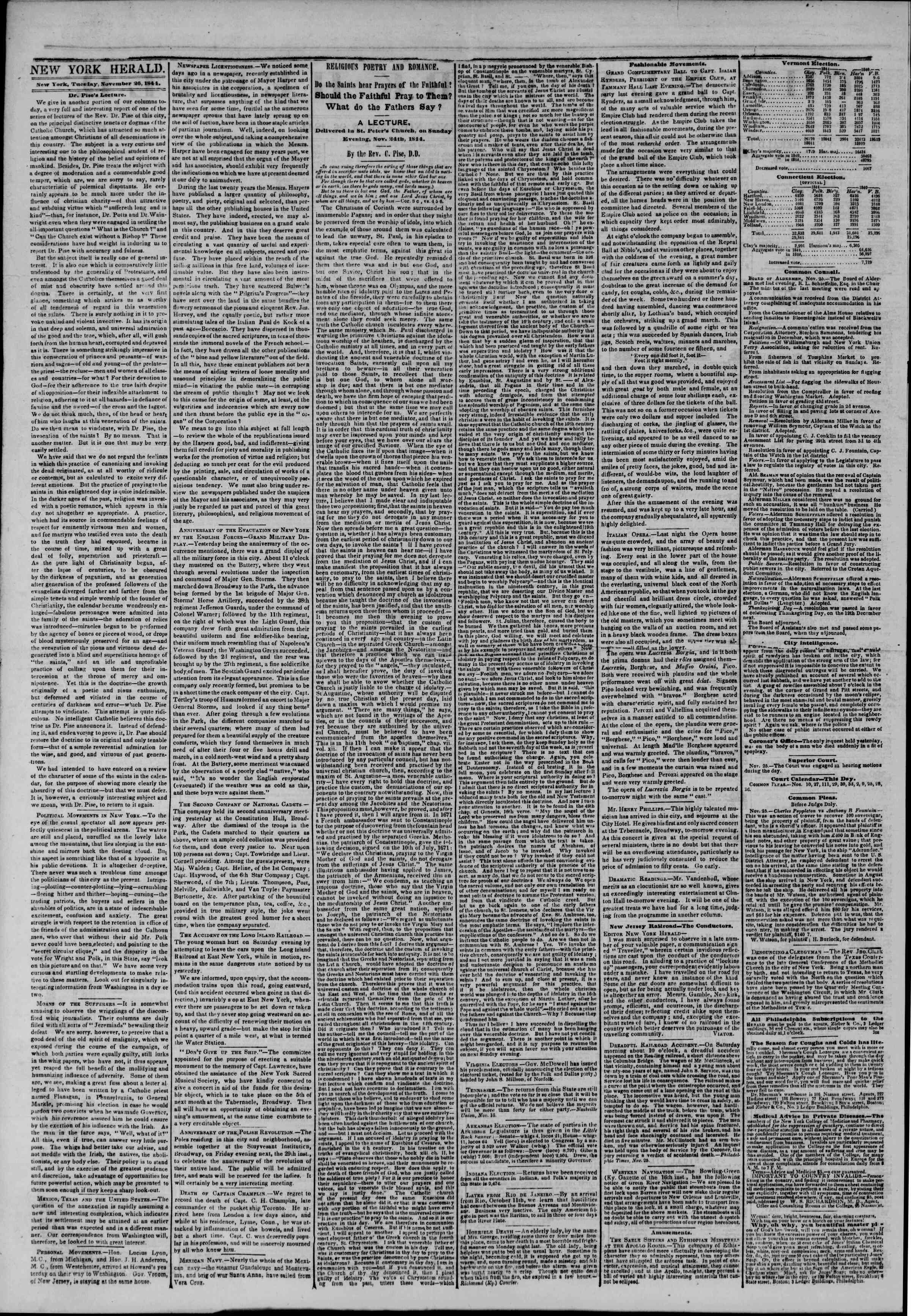 Newspaper of The New York Herald dated November 26, 1844 Page 2