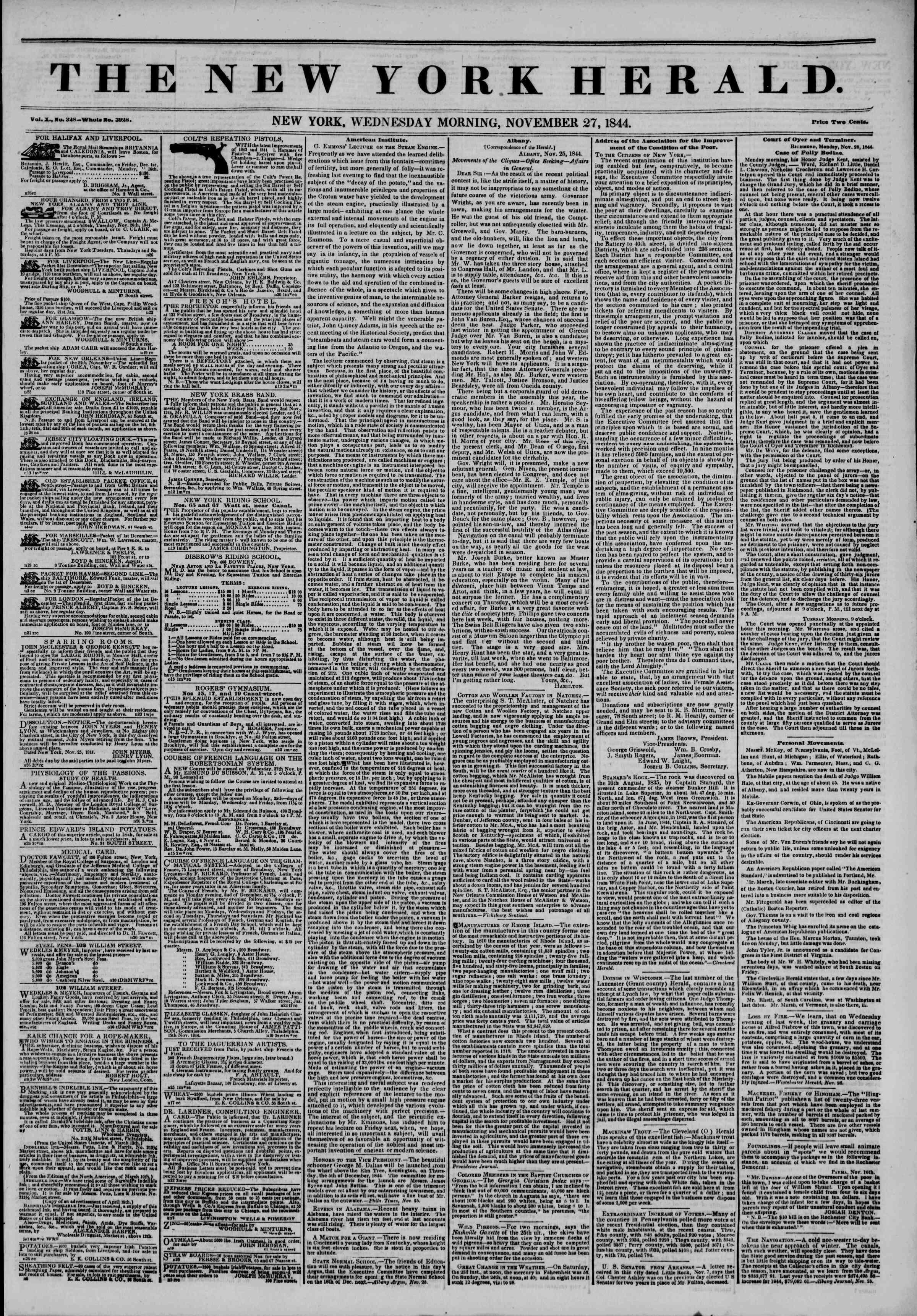 November 27, 1844 Tarihli The New York Herald Gazetesi Sayfa 1