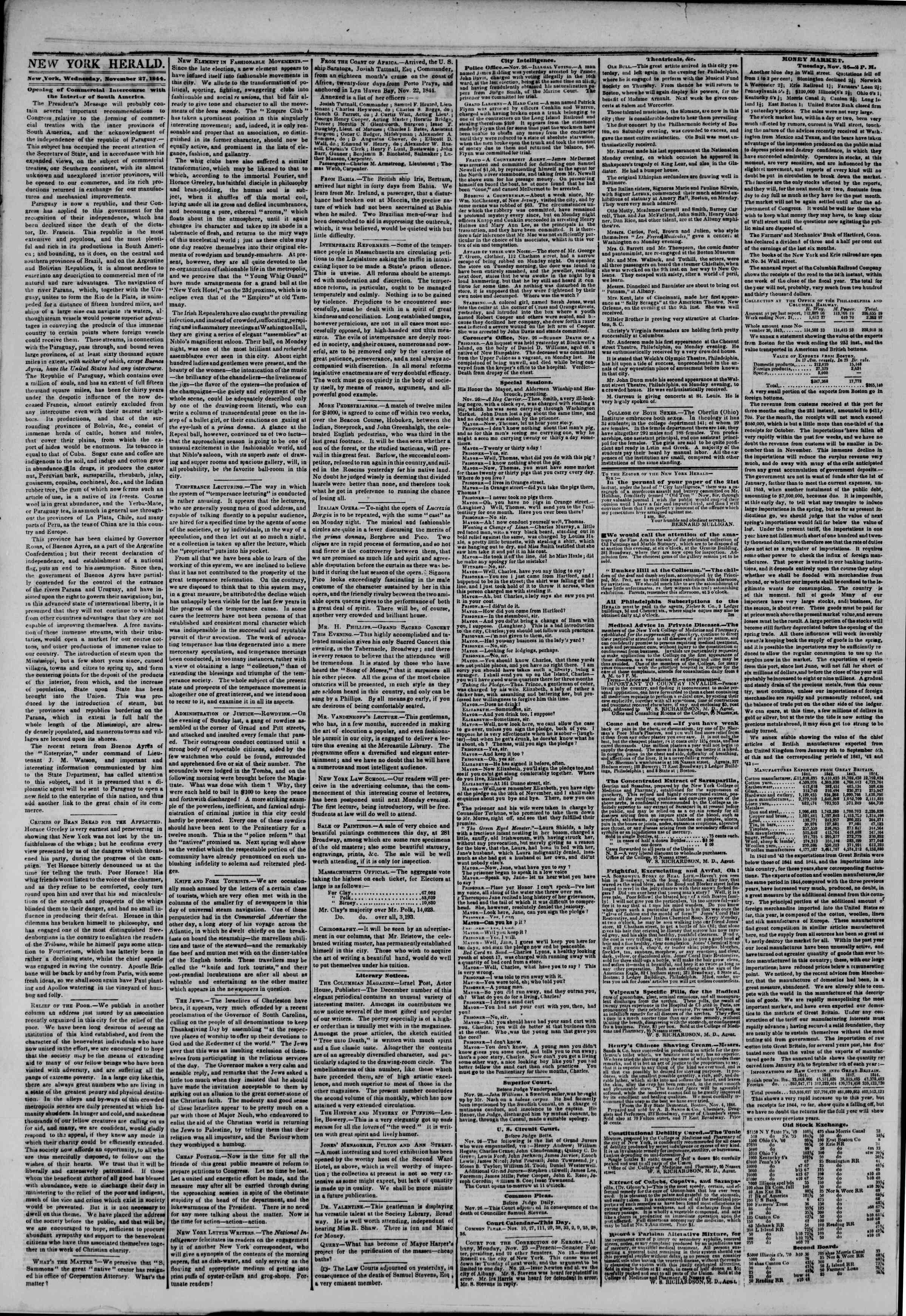 Newspaper of The New York Herald dated November 27, 1844 Page 2