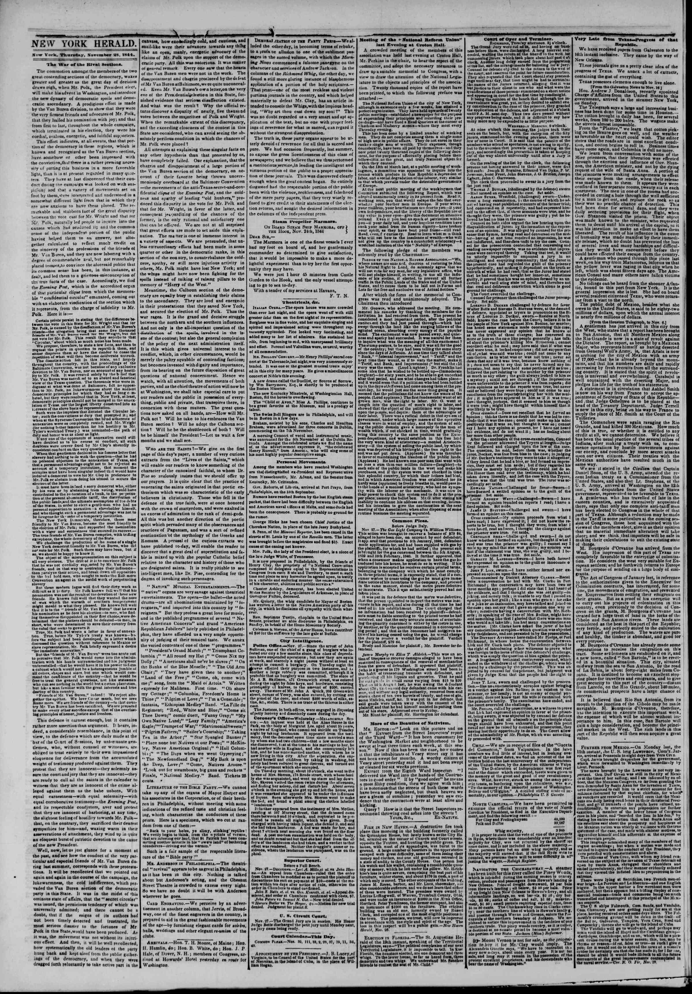 28 Kasım 1844 Tarihli The New York Herald Gazetesi Sayfa 2