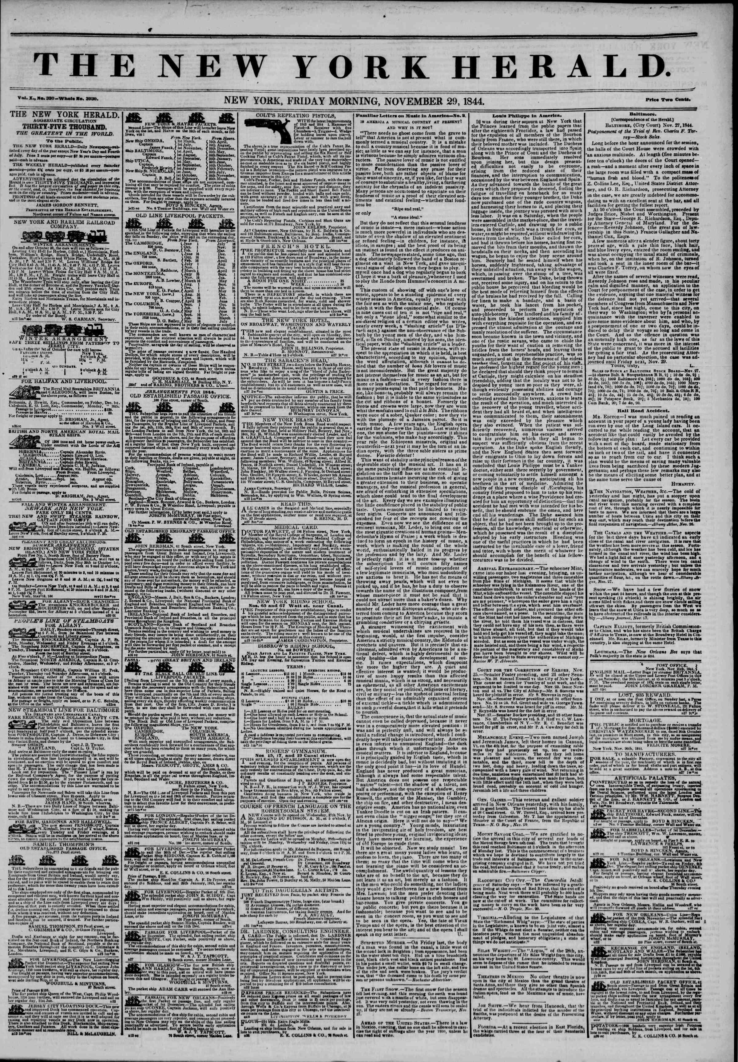 November 29, 1844 Tarihli The New York Herald Gazetesi Sayfa 1