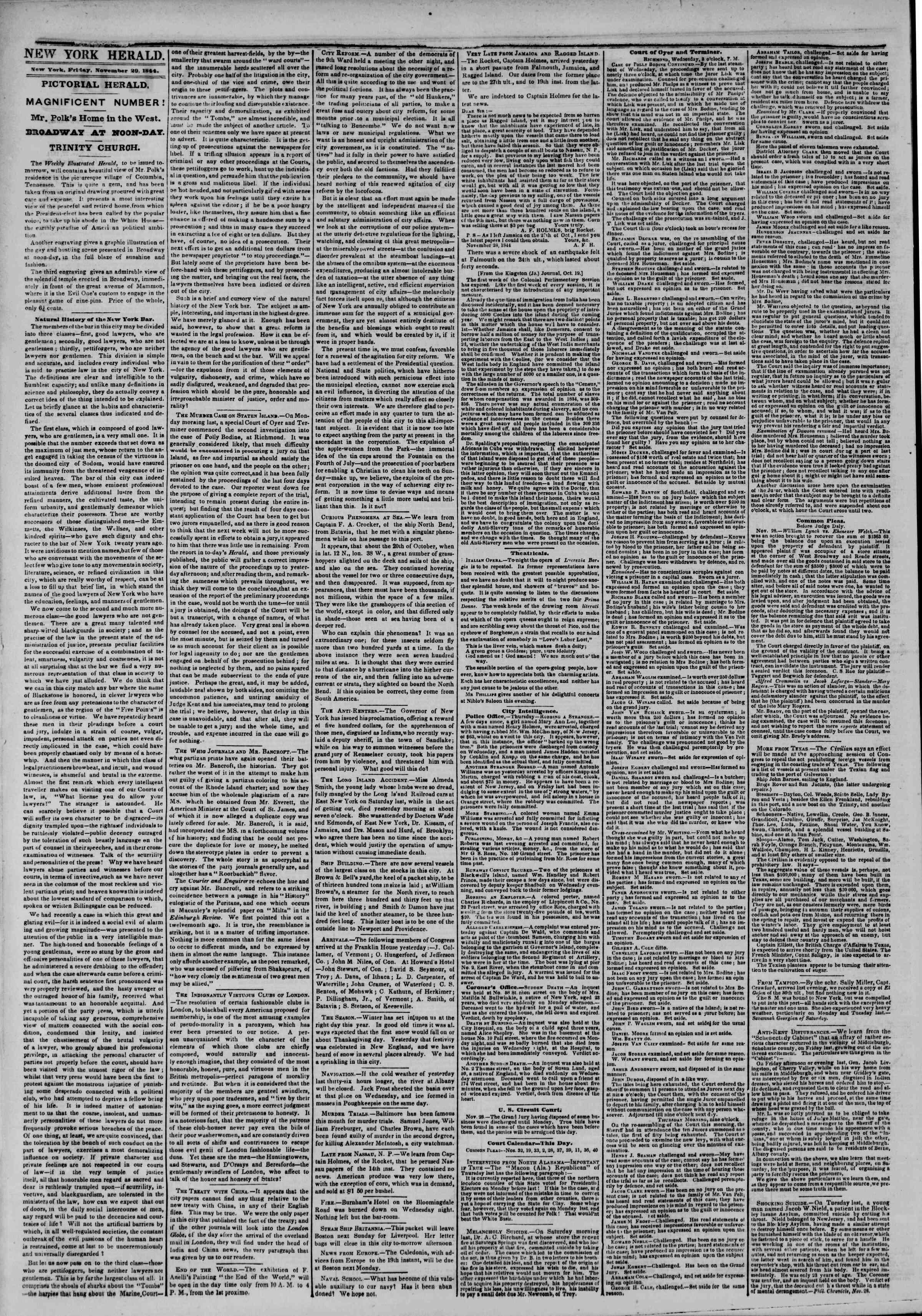 November 29, 1844 Tarihli The New York Herald Gazetesi Sayfa 2