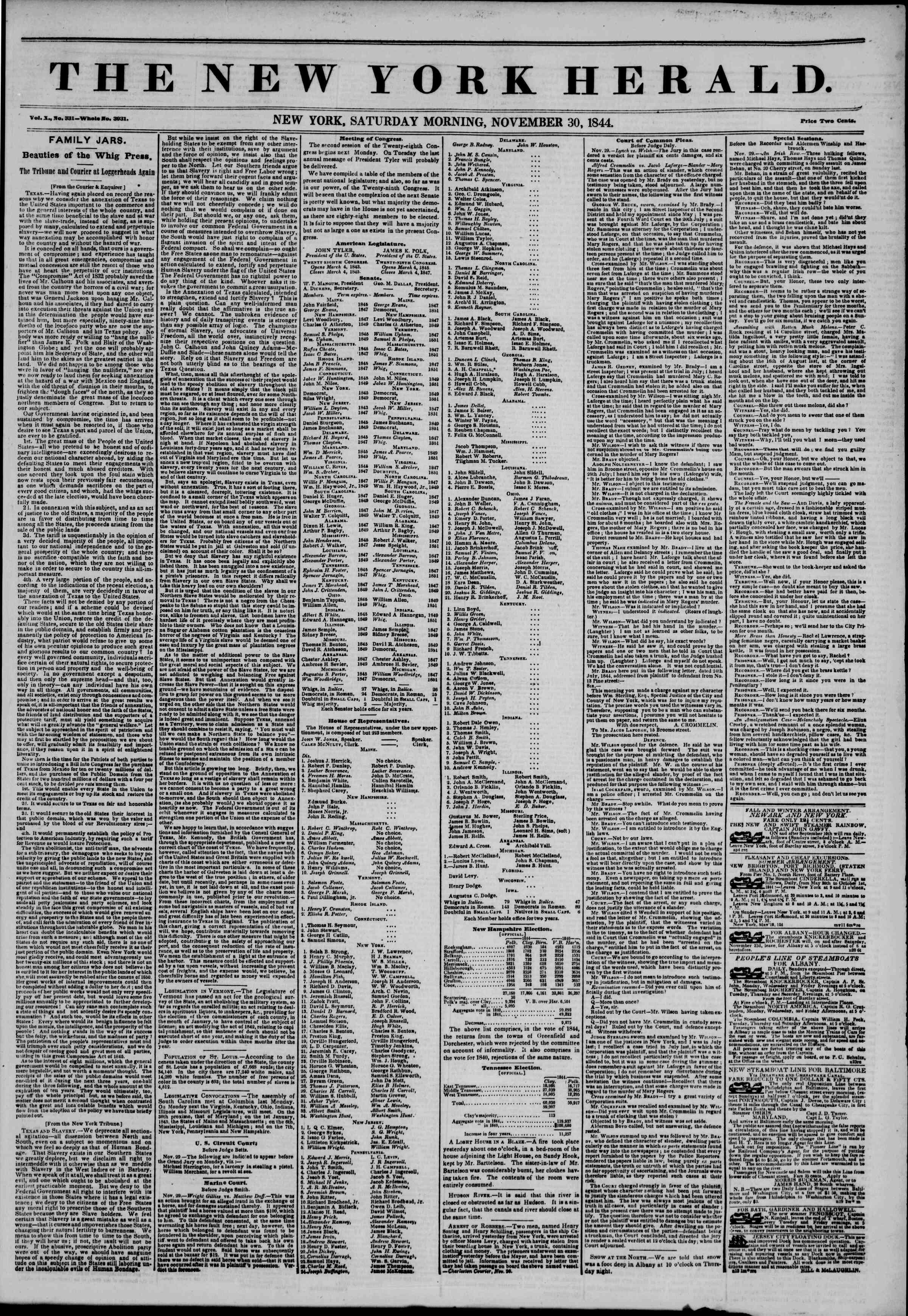 30 Kasım 1844 Tarihli The New York Herald Gazetesi Sayfa 1